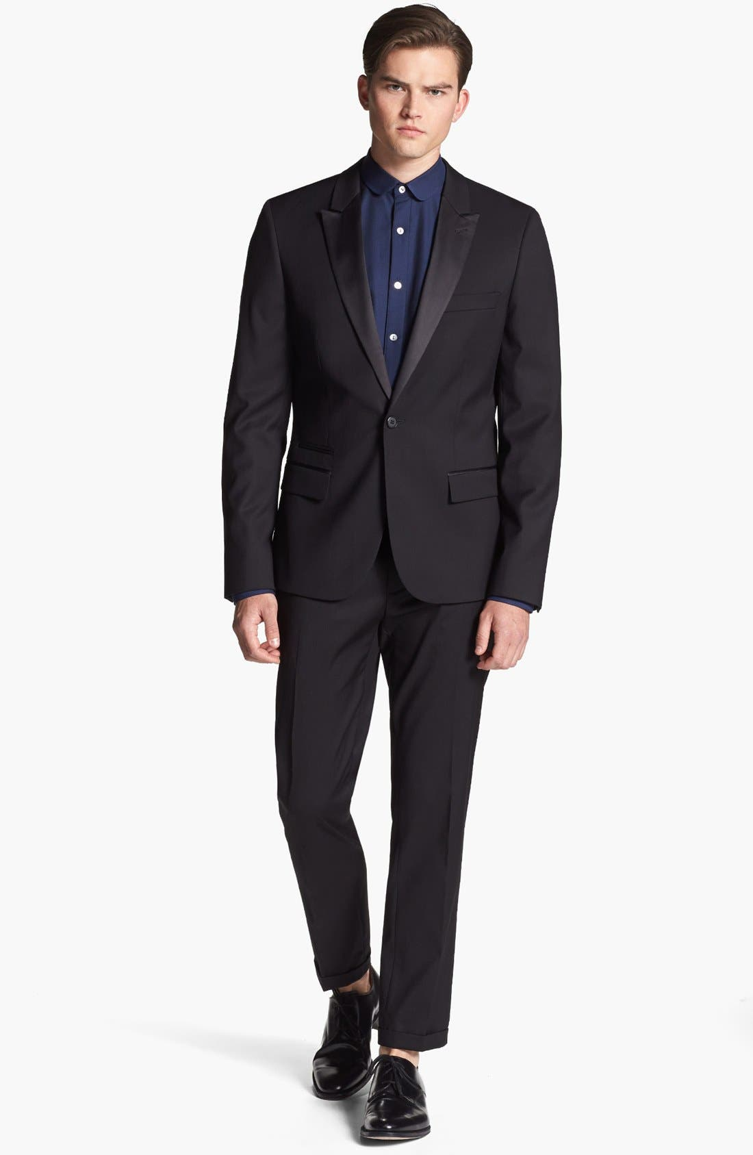 TOPMAN,                             Skinny Fit Tuxedo Trousers,                             Alternate thumbnail 4, color,                             001