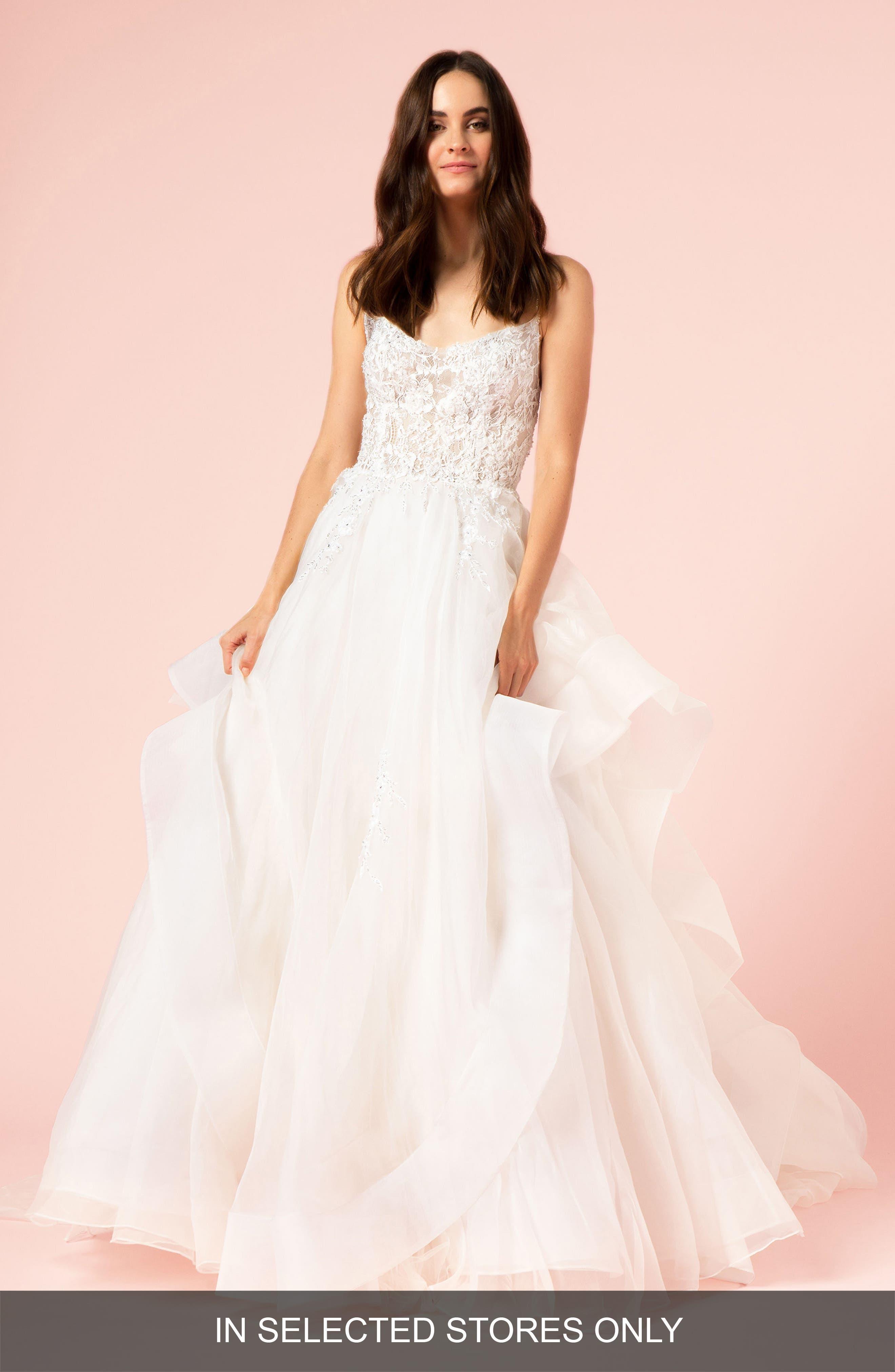 Embellished Lace & Organza Ballgown,                             Main thumbnail 1, color,                             SILK WHITE/ SILK WHITE
