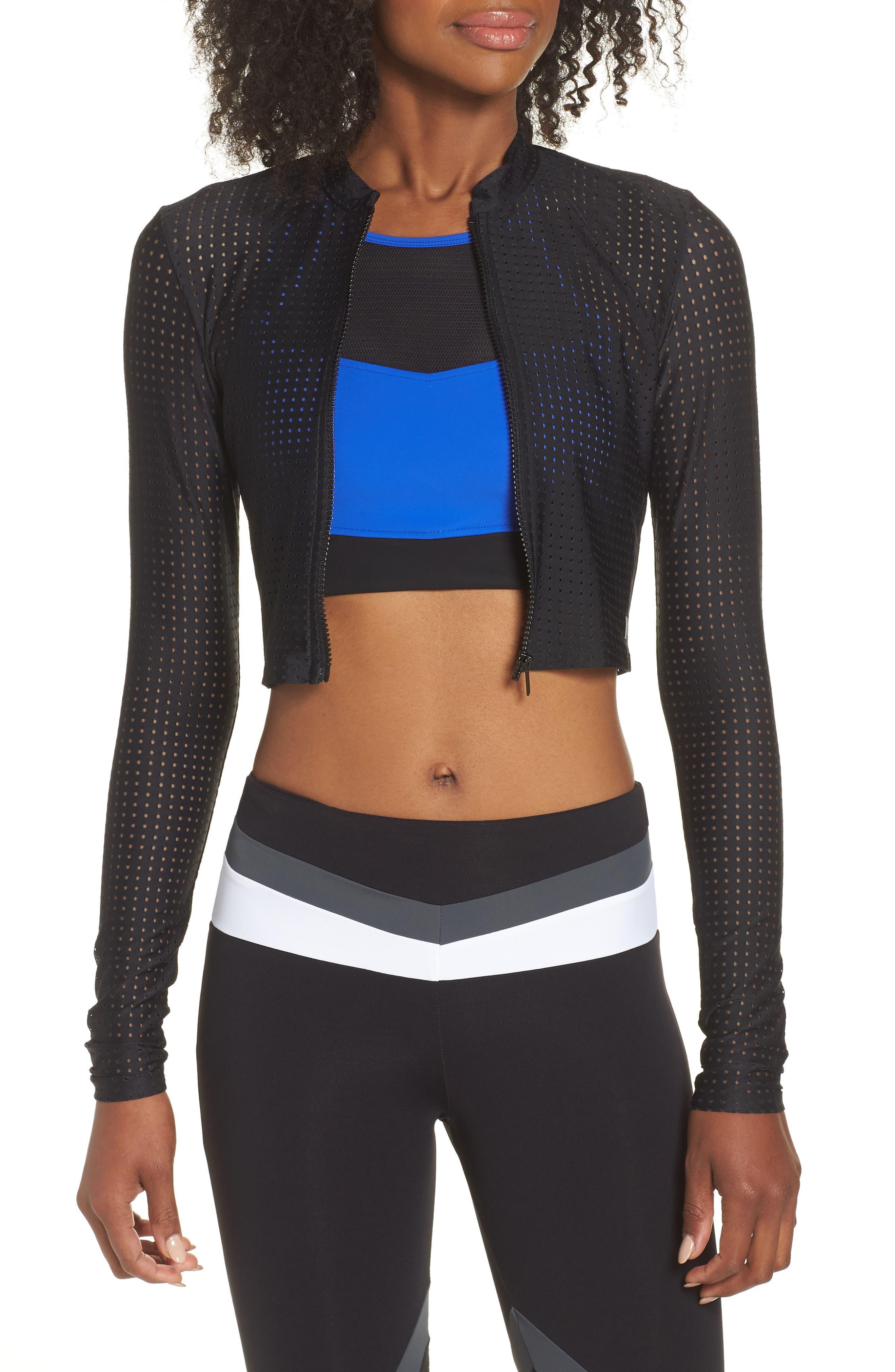 Perforated Crop Jacket,                         Main,                         color, BLACK