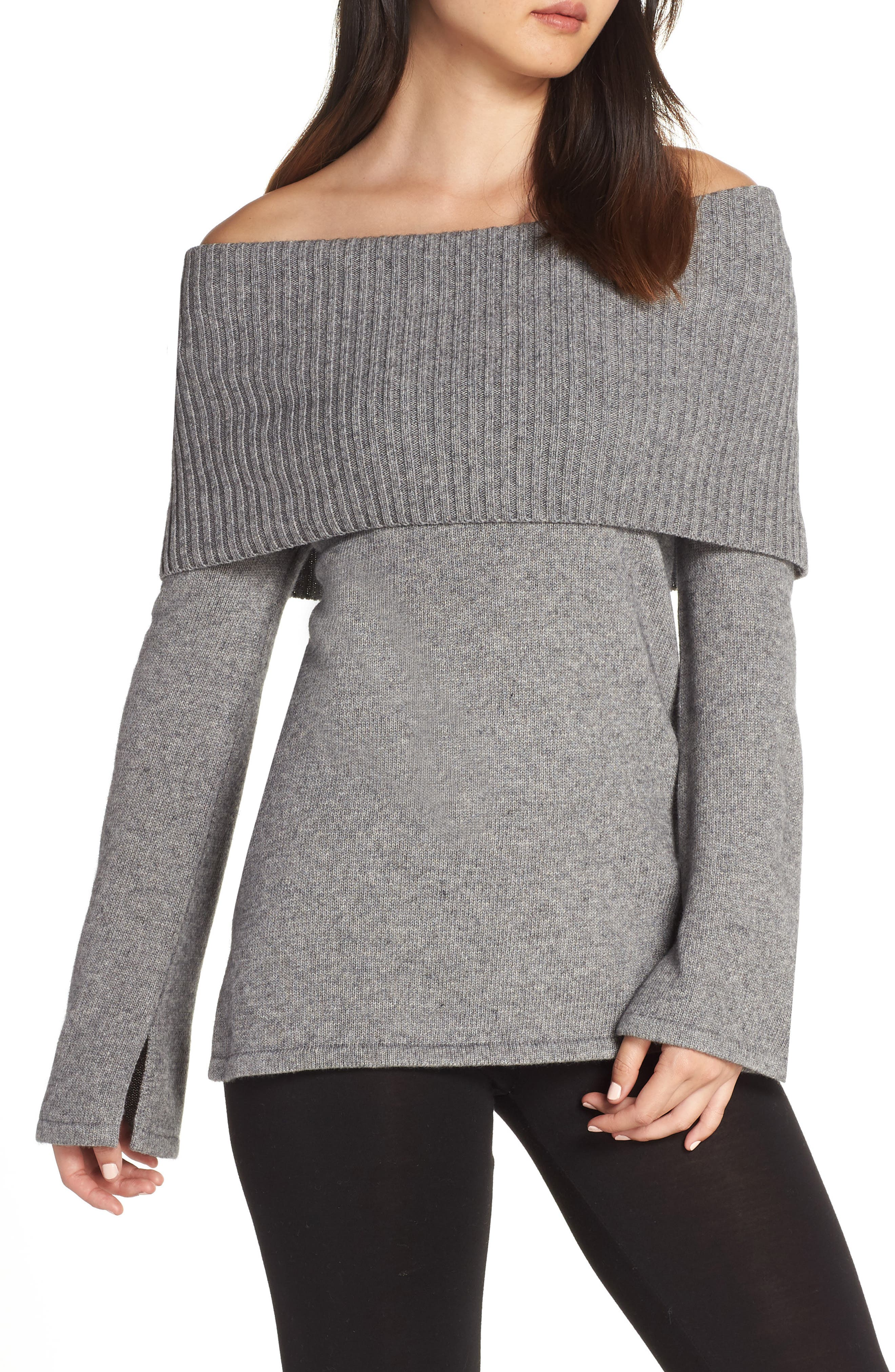 Rhodyn Off The Shoulder Sweater,                             Main thumbnail 1, color,                             GREY HEATHER