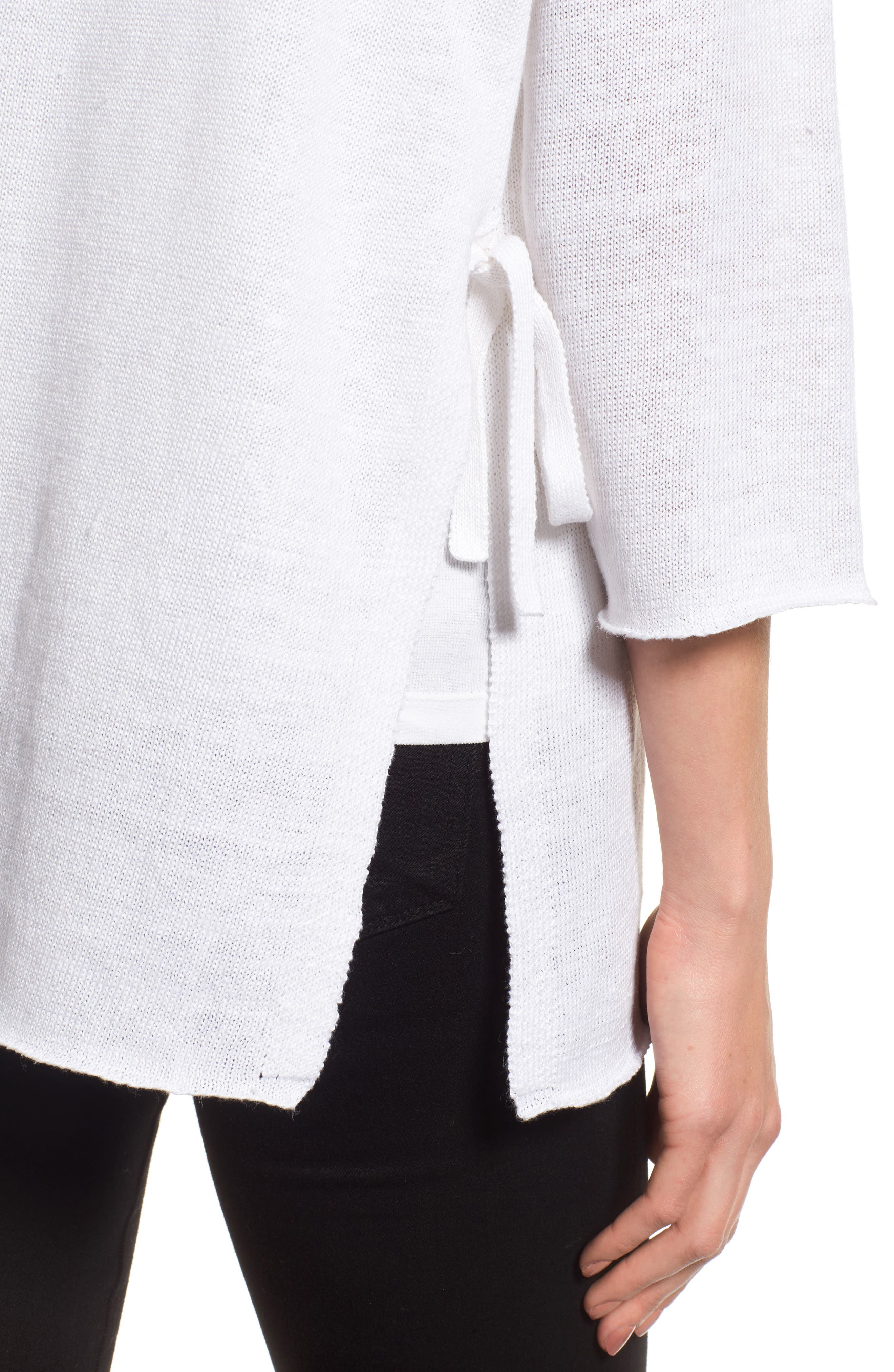 Side Tie Organic Linen Sweater,                             Alternate thumbnail 4, color,                             100
