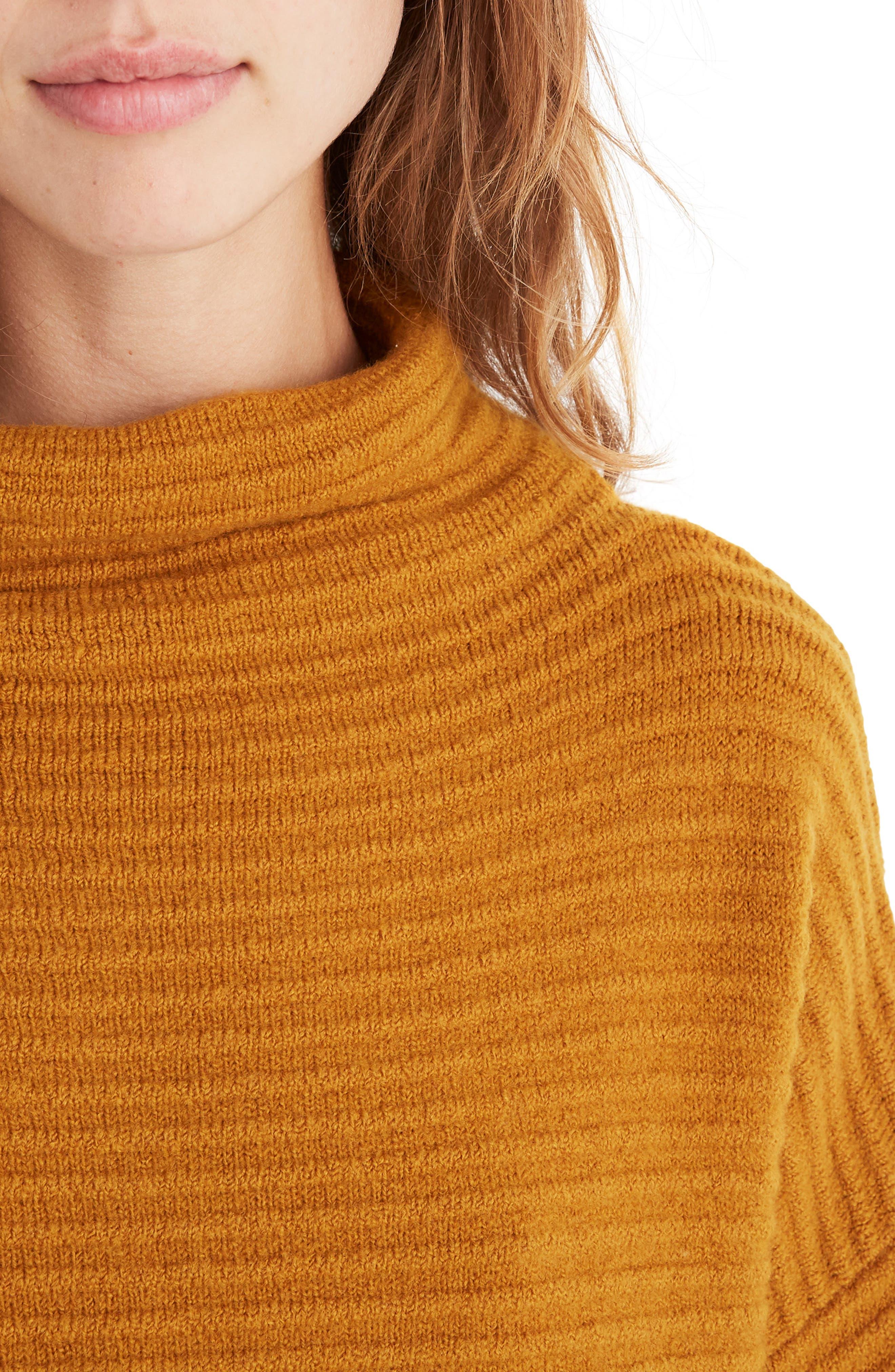 Belmont Mock Neck Sweater,                             Alternate thumbnail 5, color,                             GOLDEN HARVEST