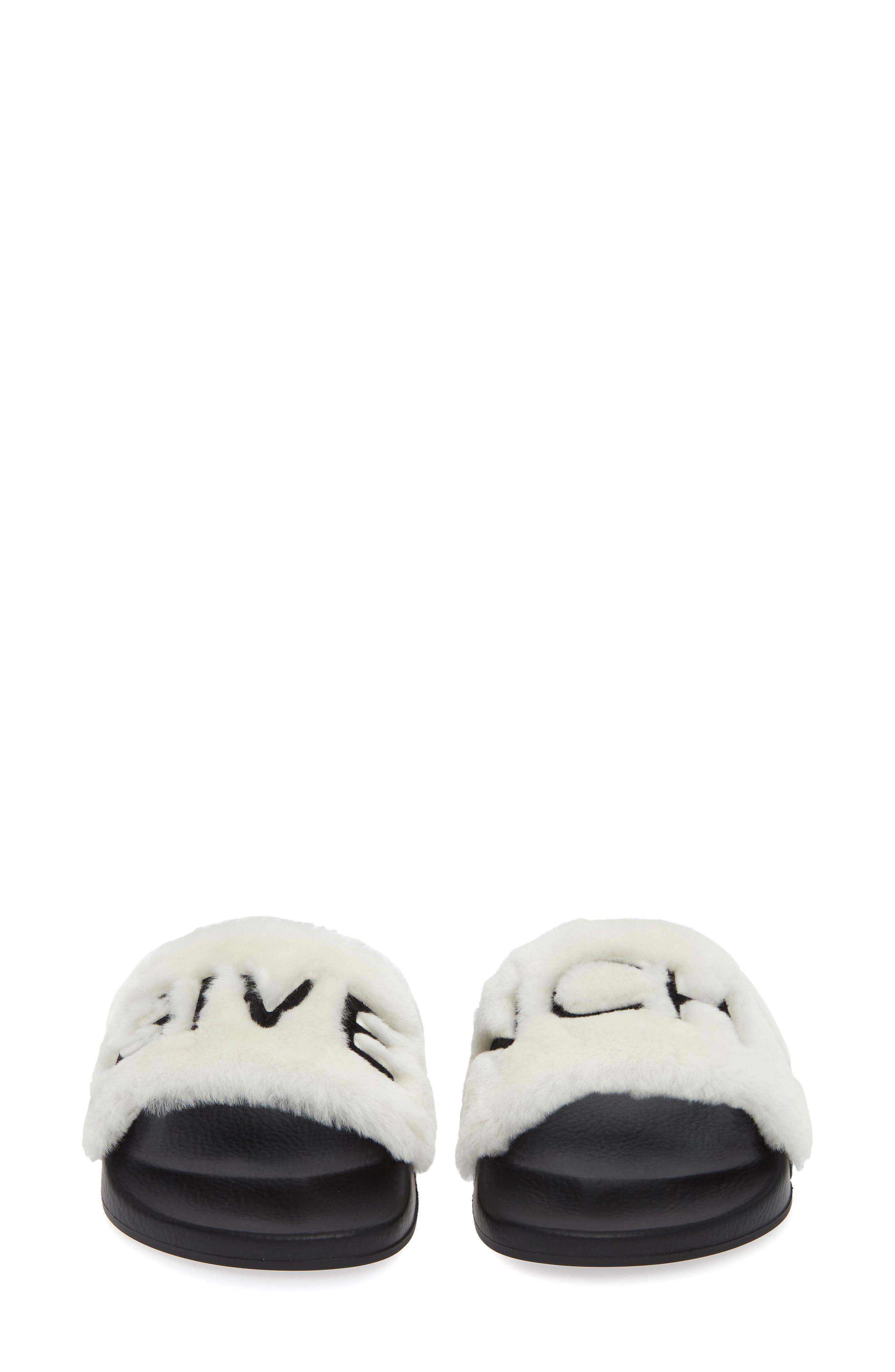 Logo Genuine Shearling Slide Sandal,                             Alternate thumbnail 5, color,                             WHITE/ BLACK