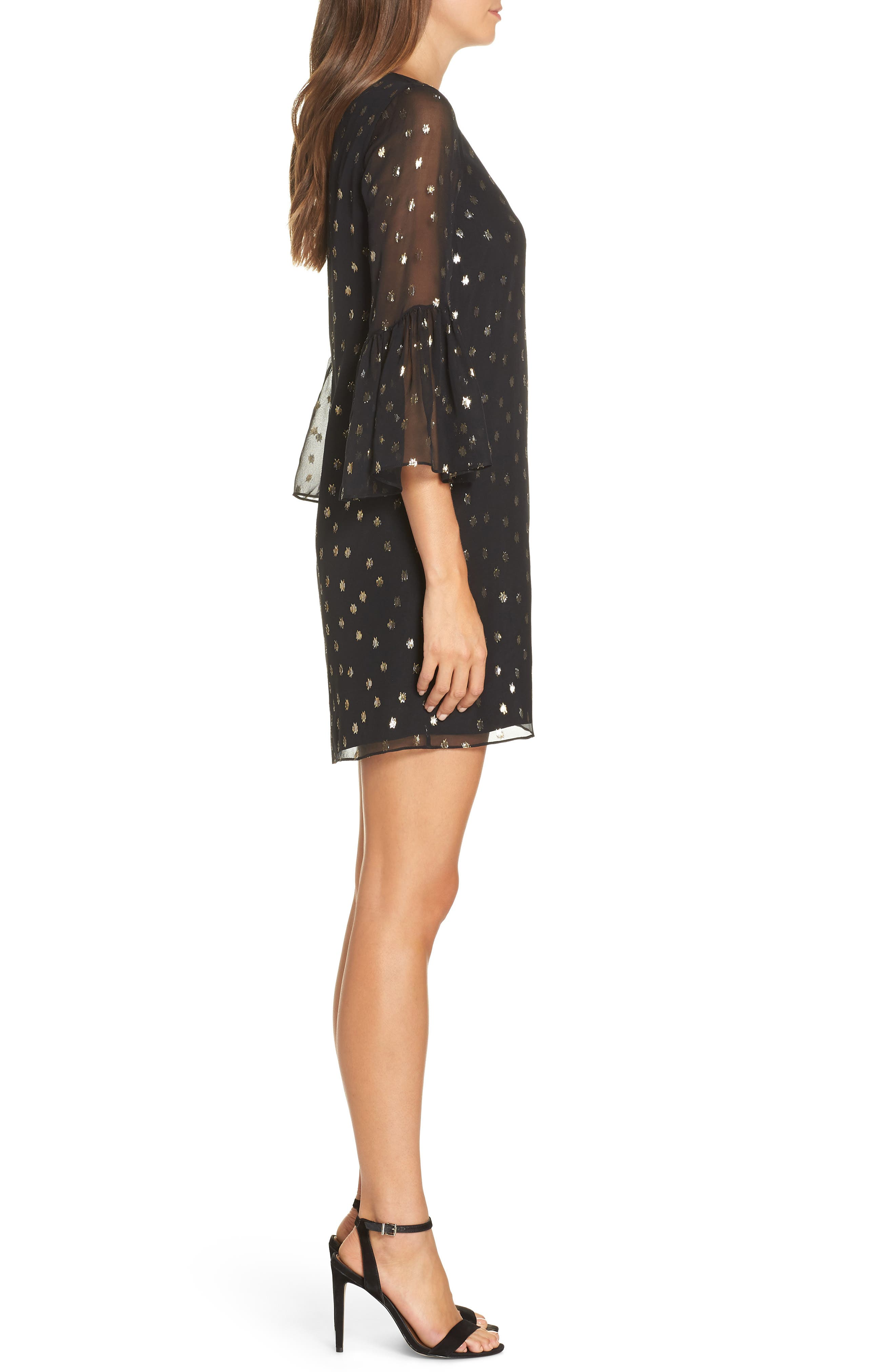 LILLY PULITZER<SUP>®</SUP>,                             Caroline Chiffon Tunic Dress,                             Alternate thumbnail 3, color,                             ONYX STARRY CLIP CHIFFON