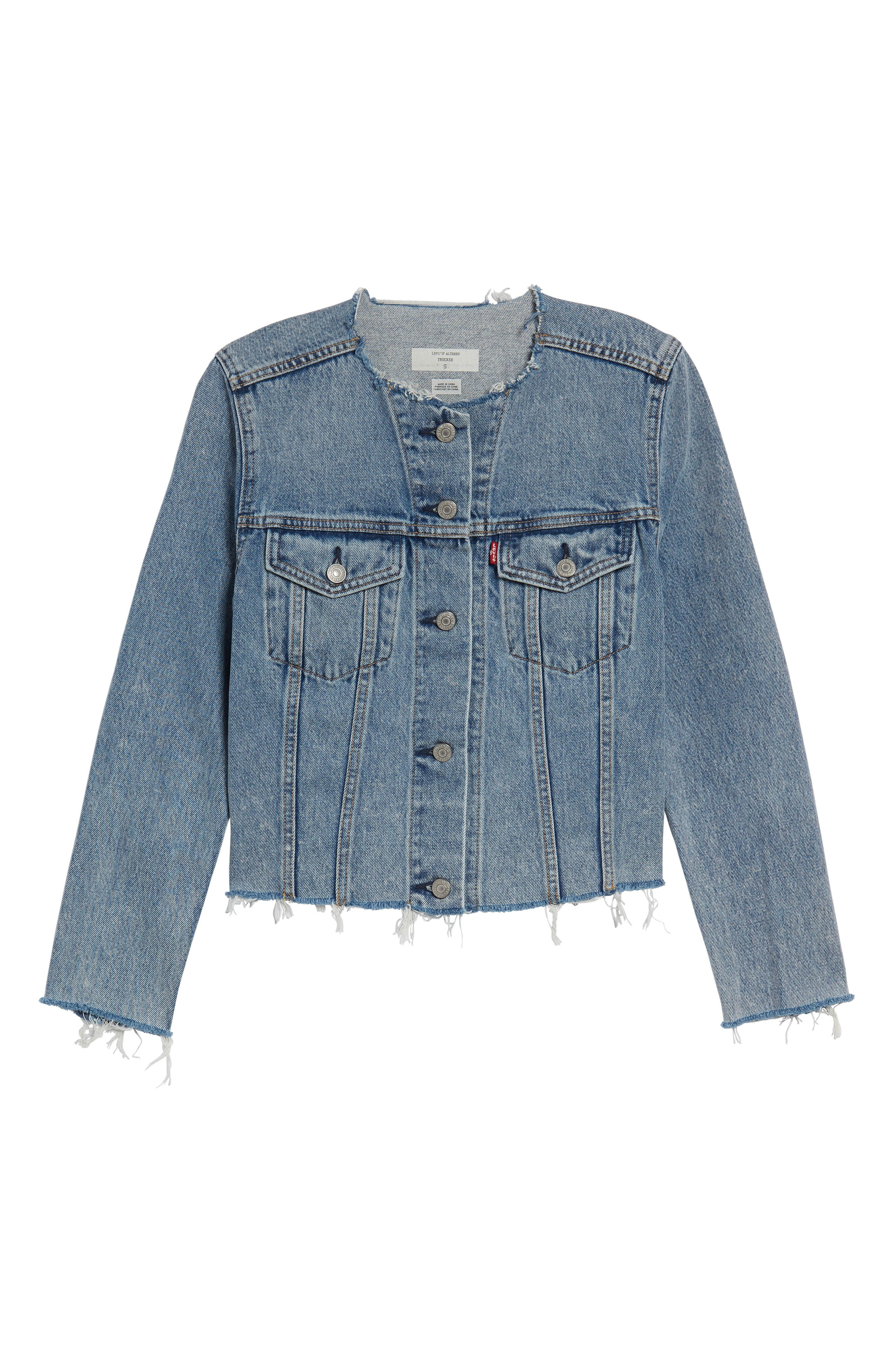 Altered Zip Distressed Trucker Jacket,                             Alternate thumbnail 10, color,
