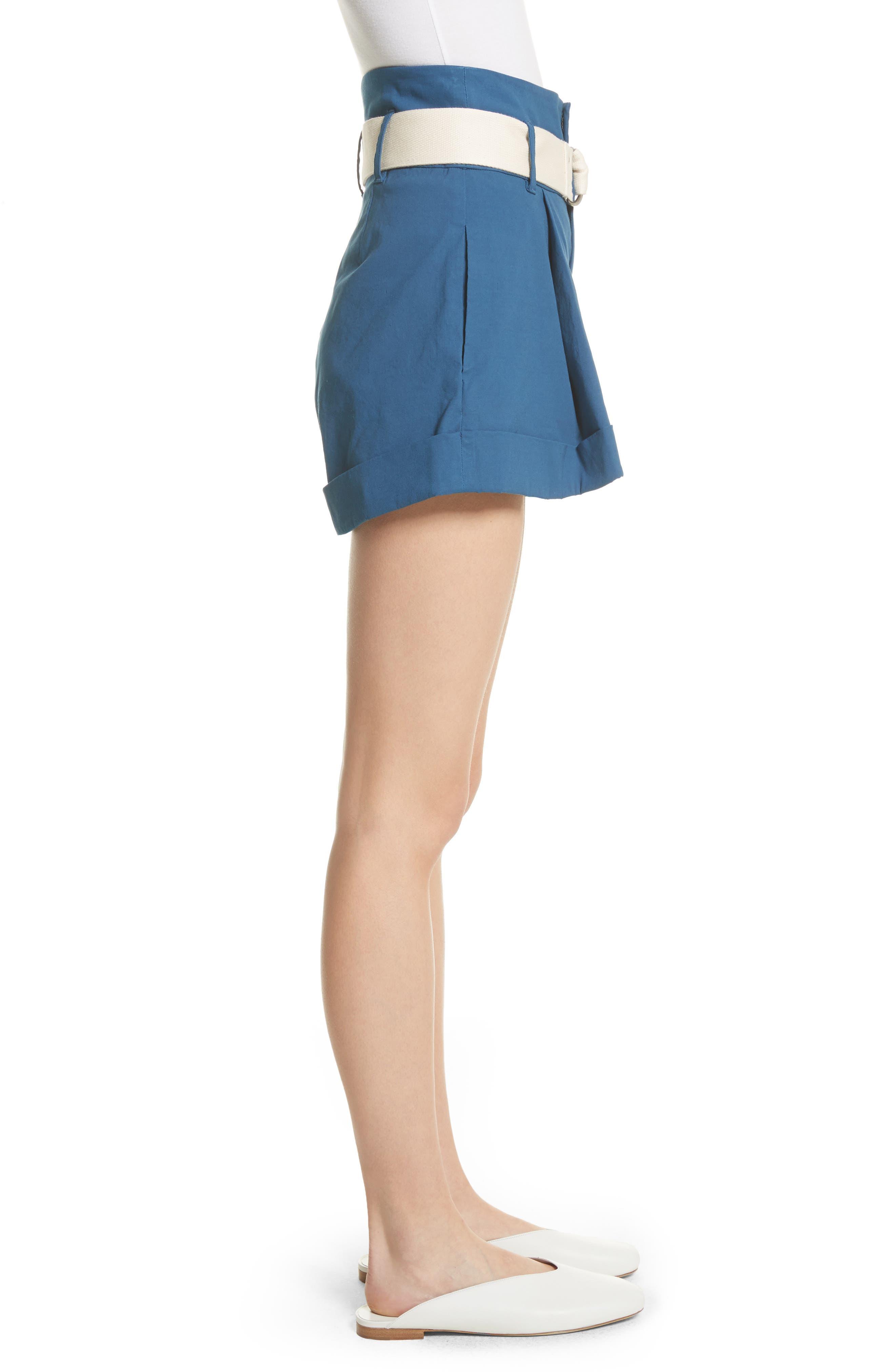Poppy Belted Cotton & Linen Blend Shorts,                             Alternate thumbnail 3, color,                             400