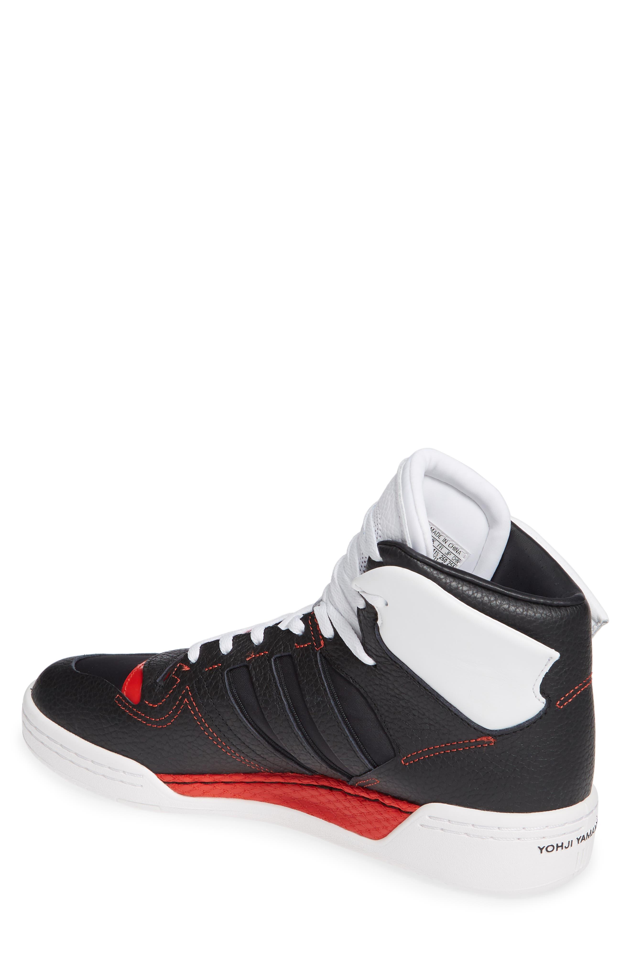 Y-3,                             x adidas Hayworth High Top Sneaker,                             Alternate thumbnail 2, color,                             BLACK/ BLACK/ RED