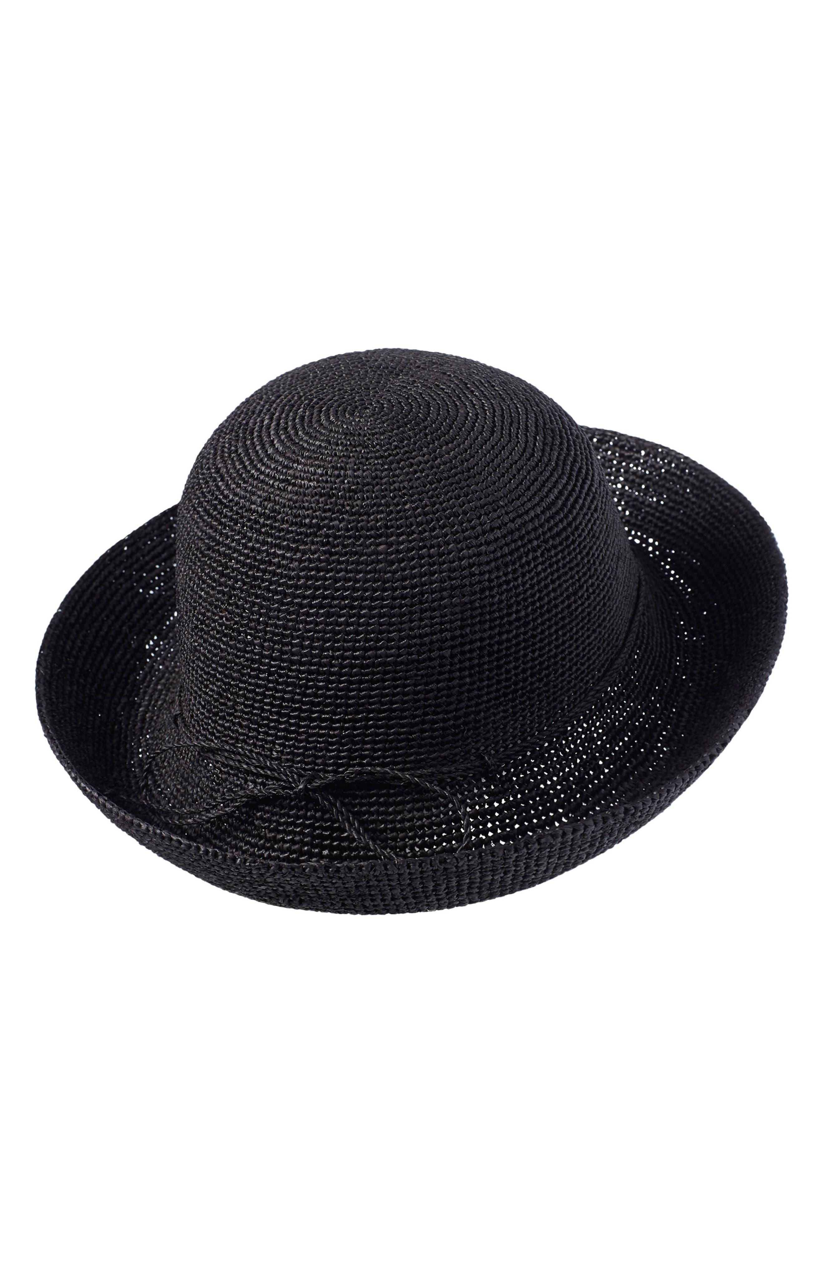 Classic Upturn Crocheted Raffia Hat,                             Main thumbnail 1, color,                             001