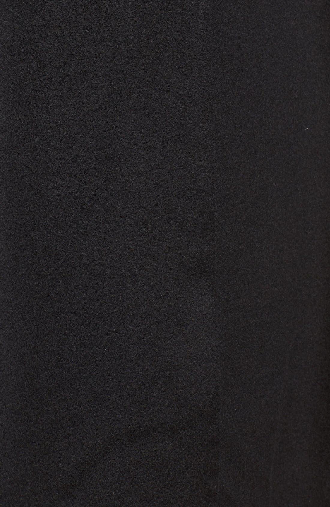 Genuine Fox Fur Collar Cashmere Cape,                             Alternate thumbnail 5, color,                             001