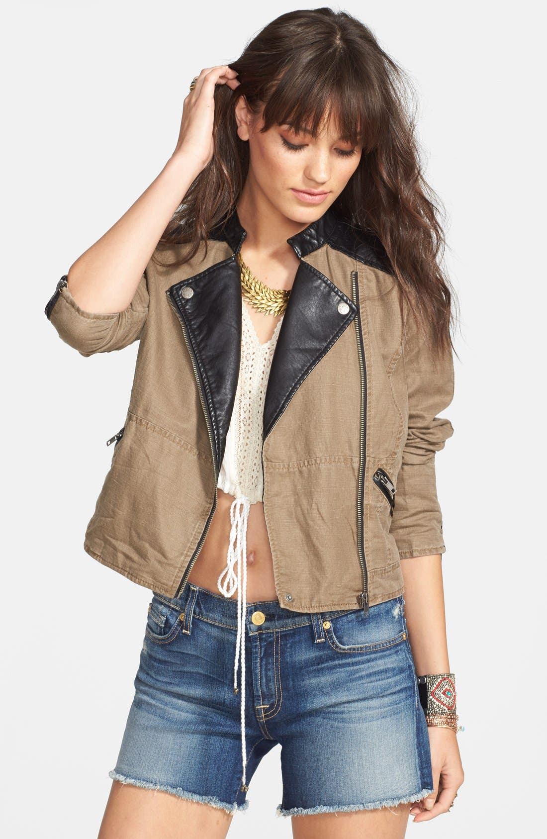 Faux Leather & Linen Blend Moto Jacket,                         Main,                         color, 213