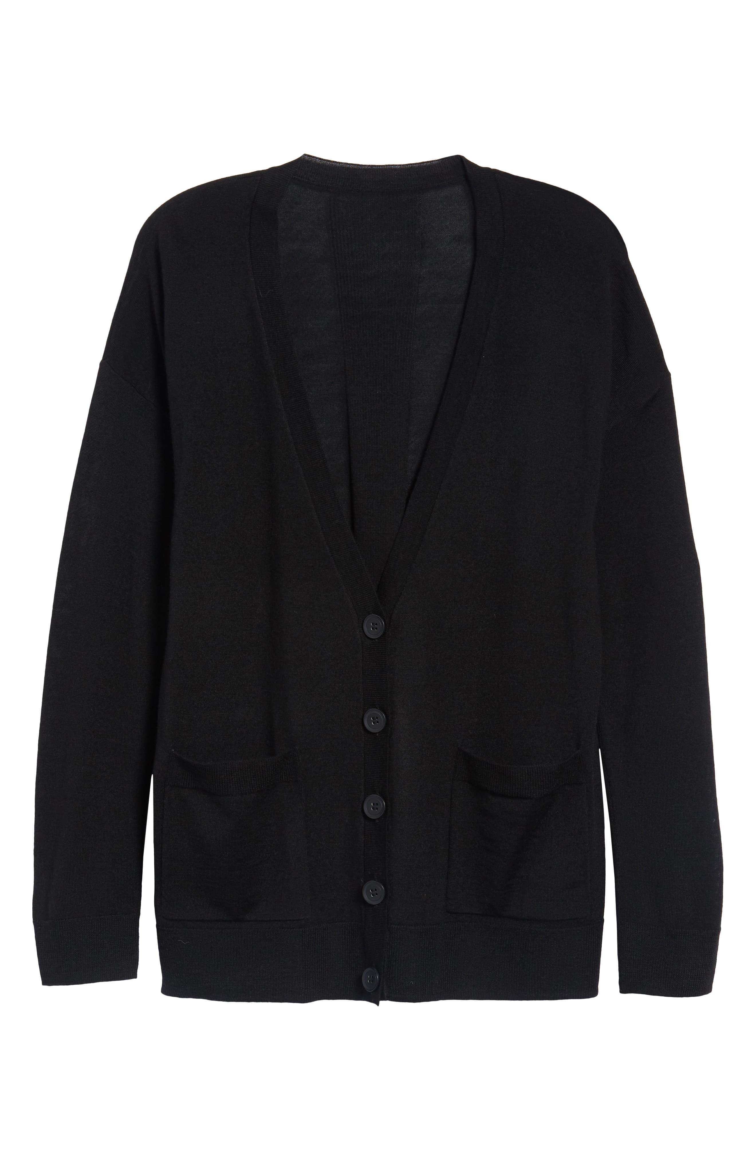 V-Neck Merino Wool Cardigan,                             Alternate thumbnail 6, color,                             BLACK