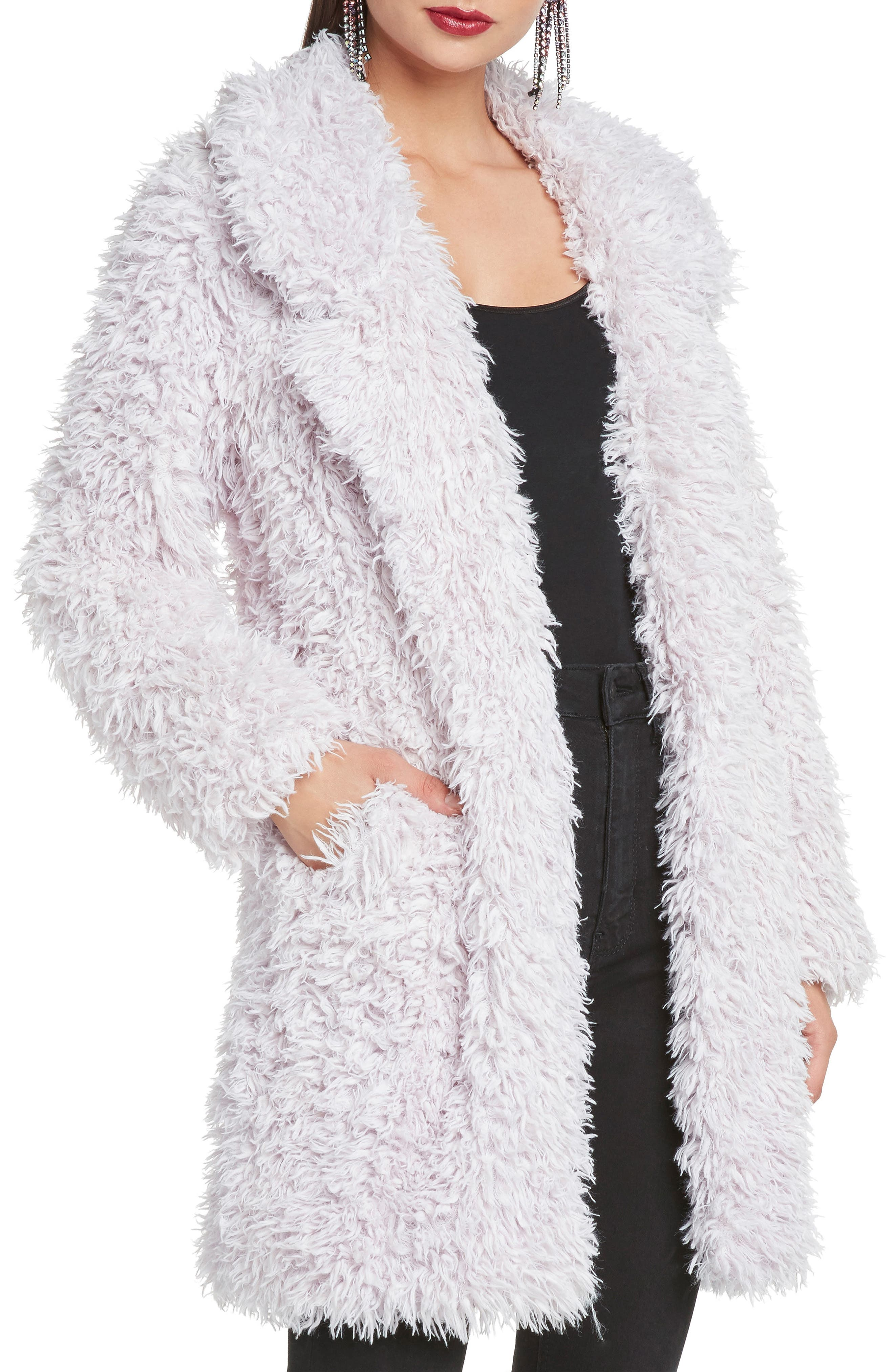 WILLOW & CLAY Faux Fur Coat in White