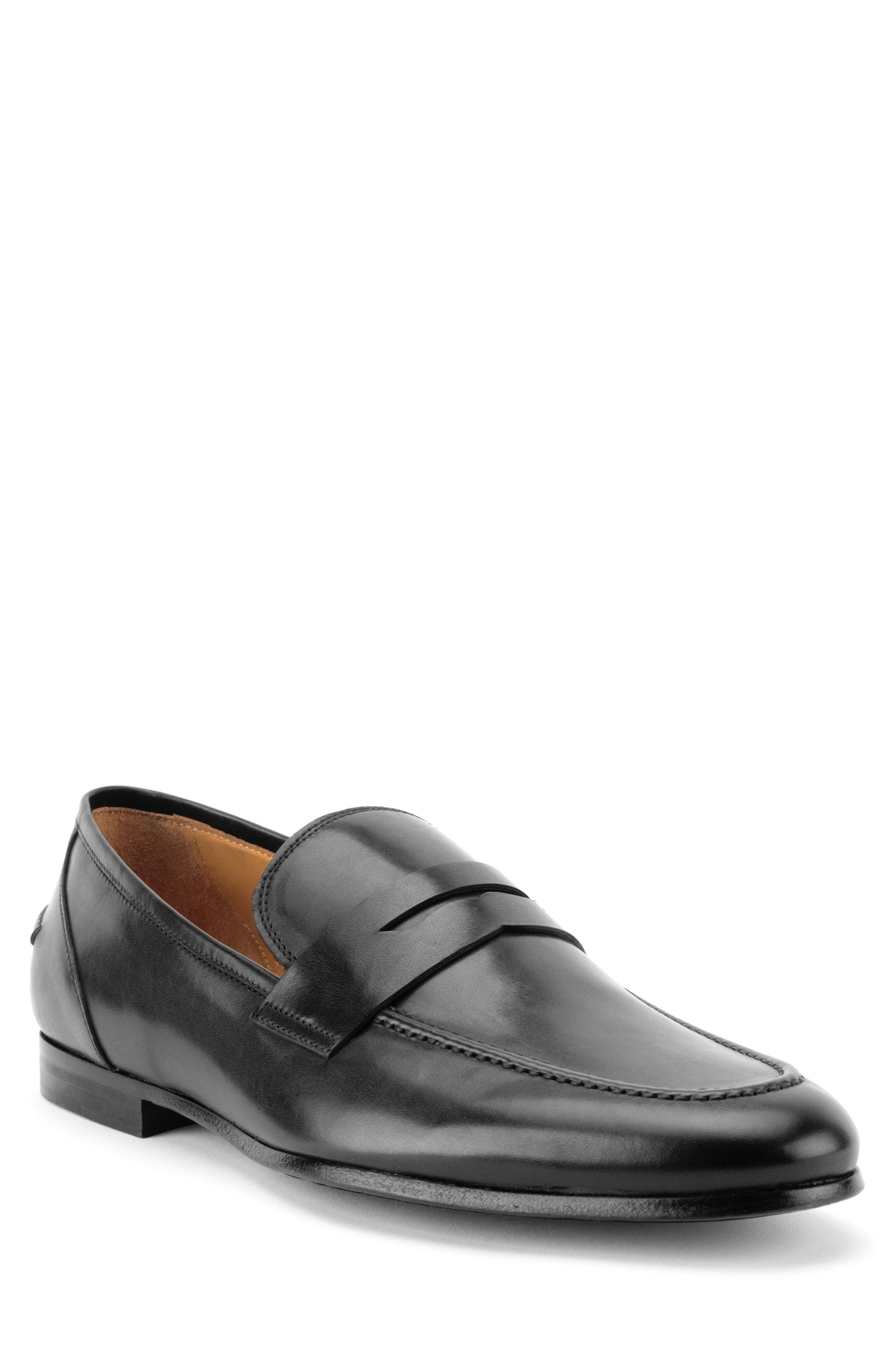Coleman Apron Toe Penny Loafer,                             Main thumbnail 1, color,                             BLACK LEATHER
