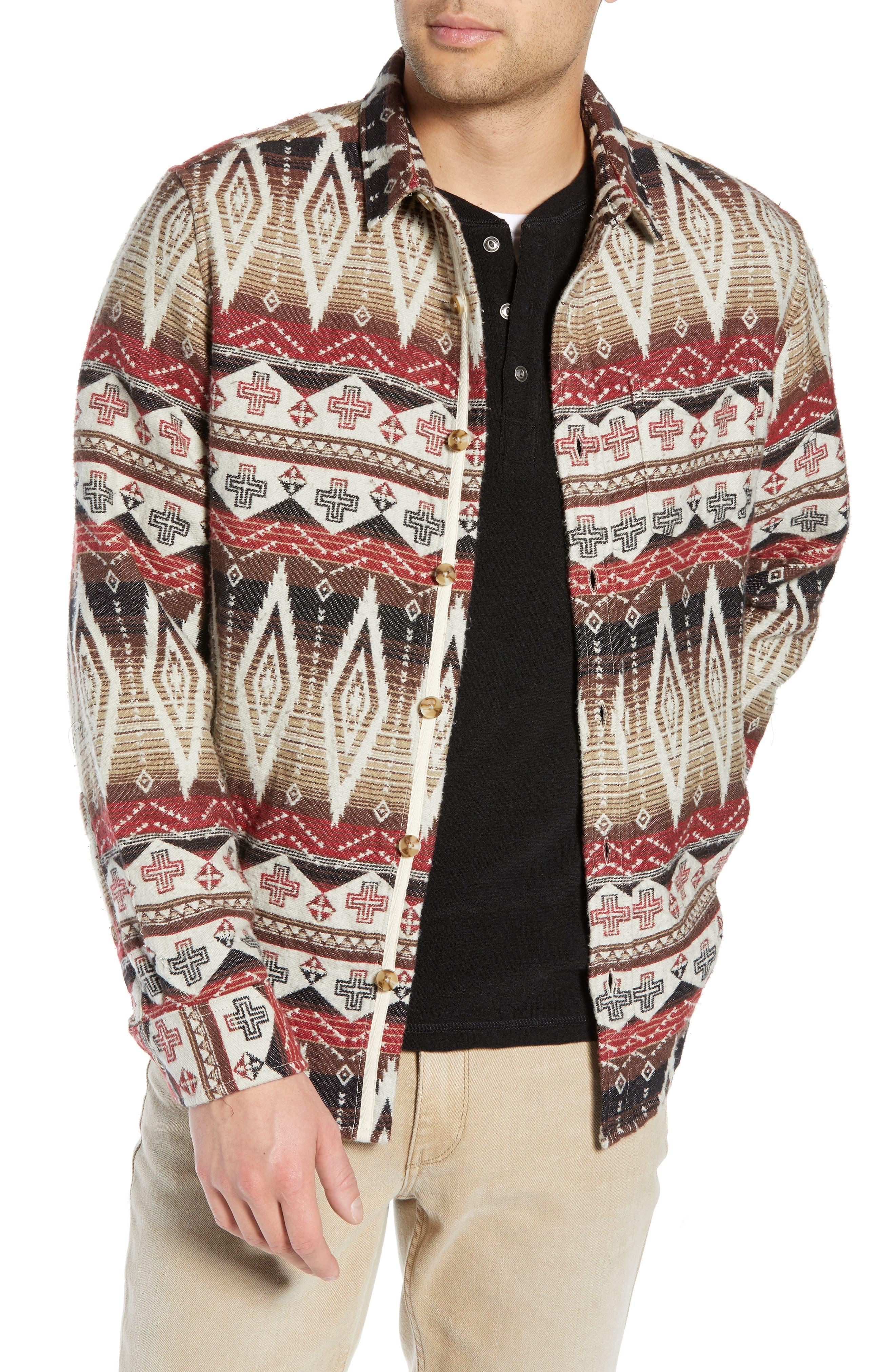 Geo Blanket Shirt Jacket,                             Main thumbnail 1, color,                             BEIGE RAINY DAY TRIBAL PRINT