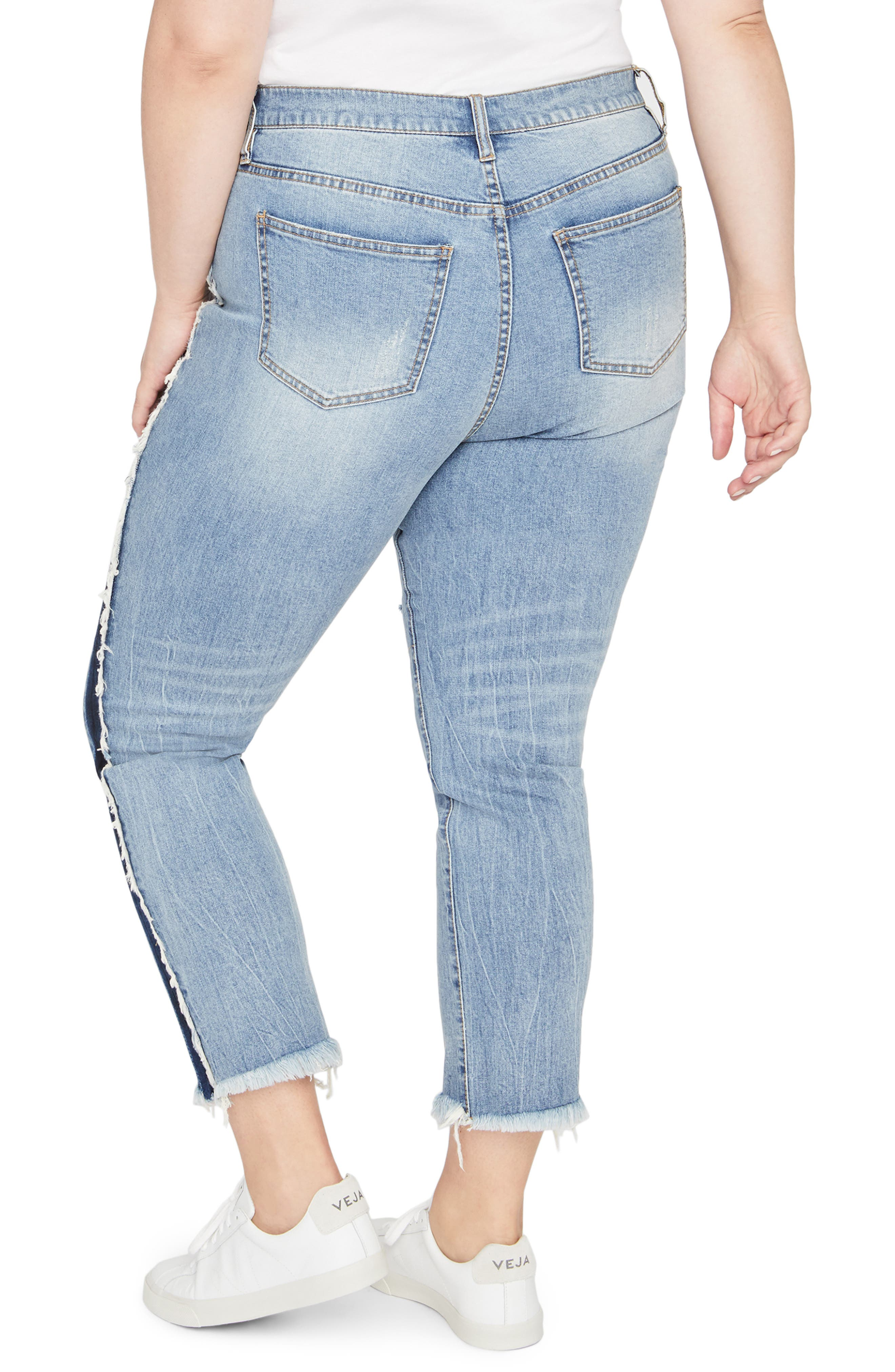 Shadow Side Stripe Raw Hem Crop Jeans,                             Alternate thumbnail 2, color,                             419