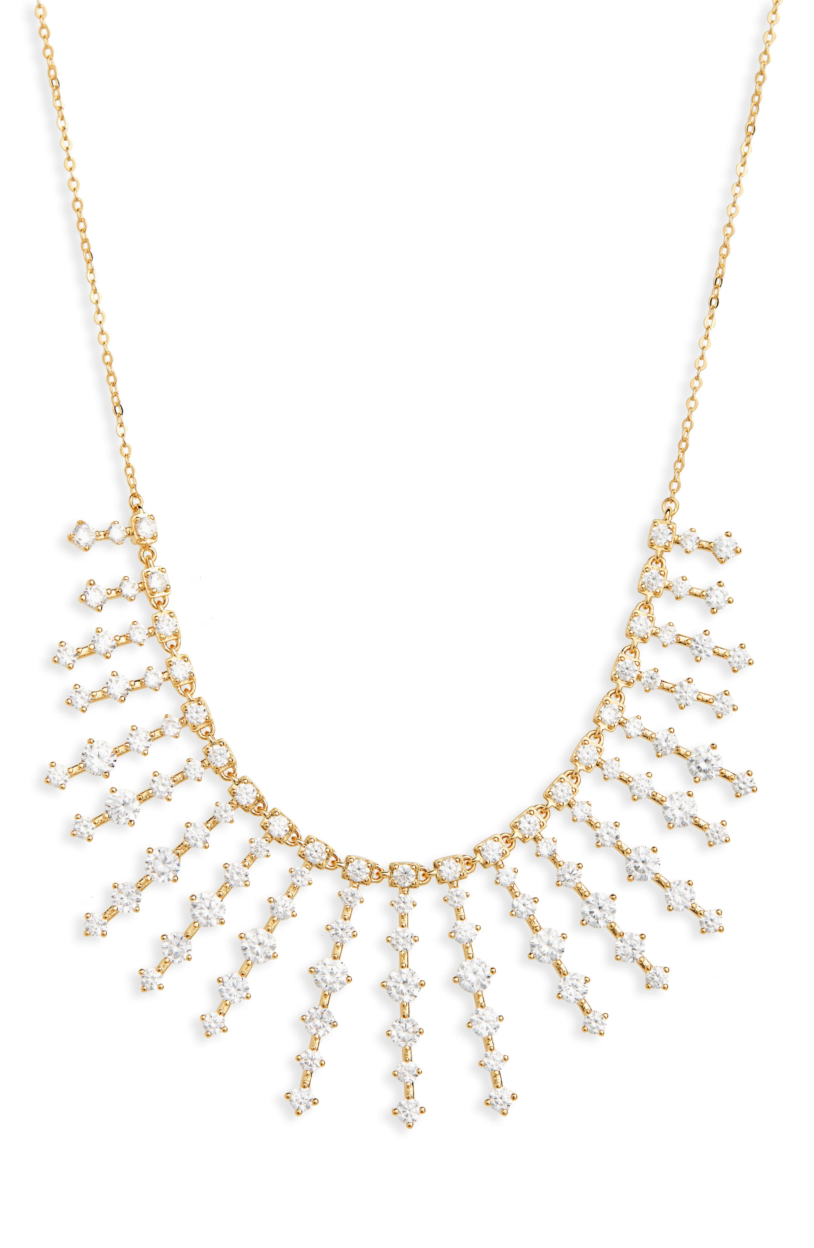 NORDSTROM,                             Stone Bar Bib Statement Necklace,                             Main thumbnail 1, color,                             CLEAR- GOLD