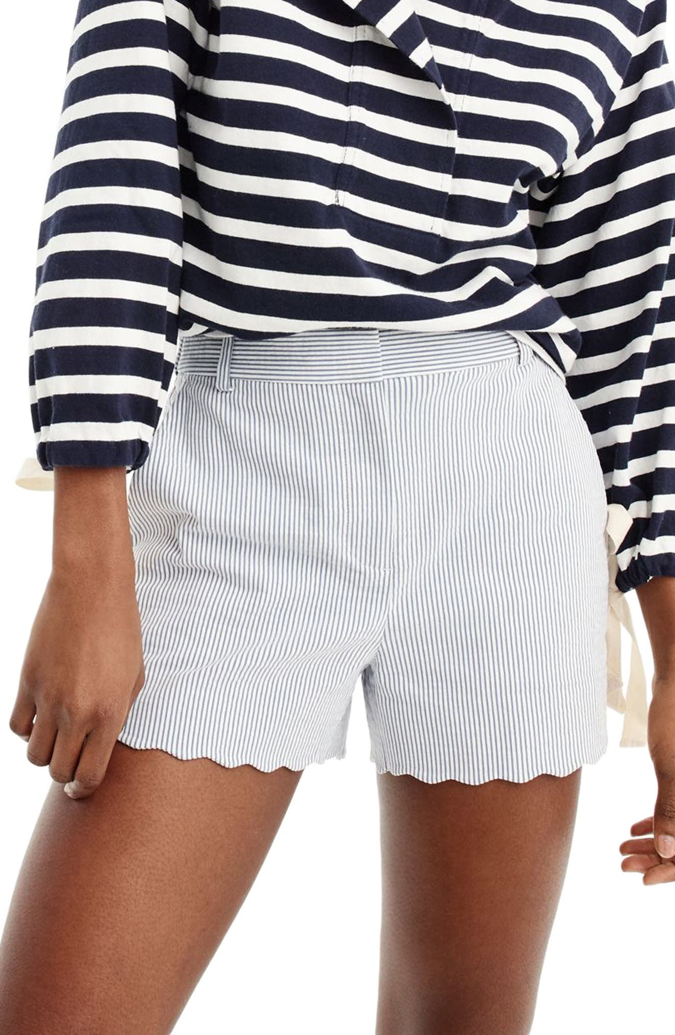 Fiesta Seersucker Scallop Hem Shorts,                             Main thumbnail 1, color,                             400