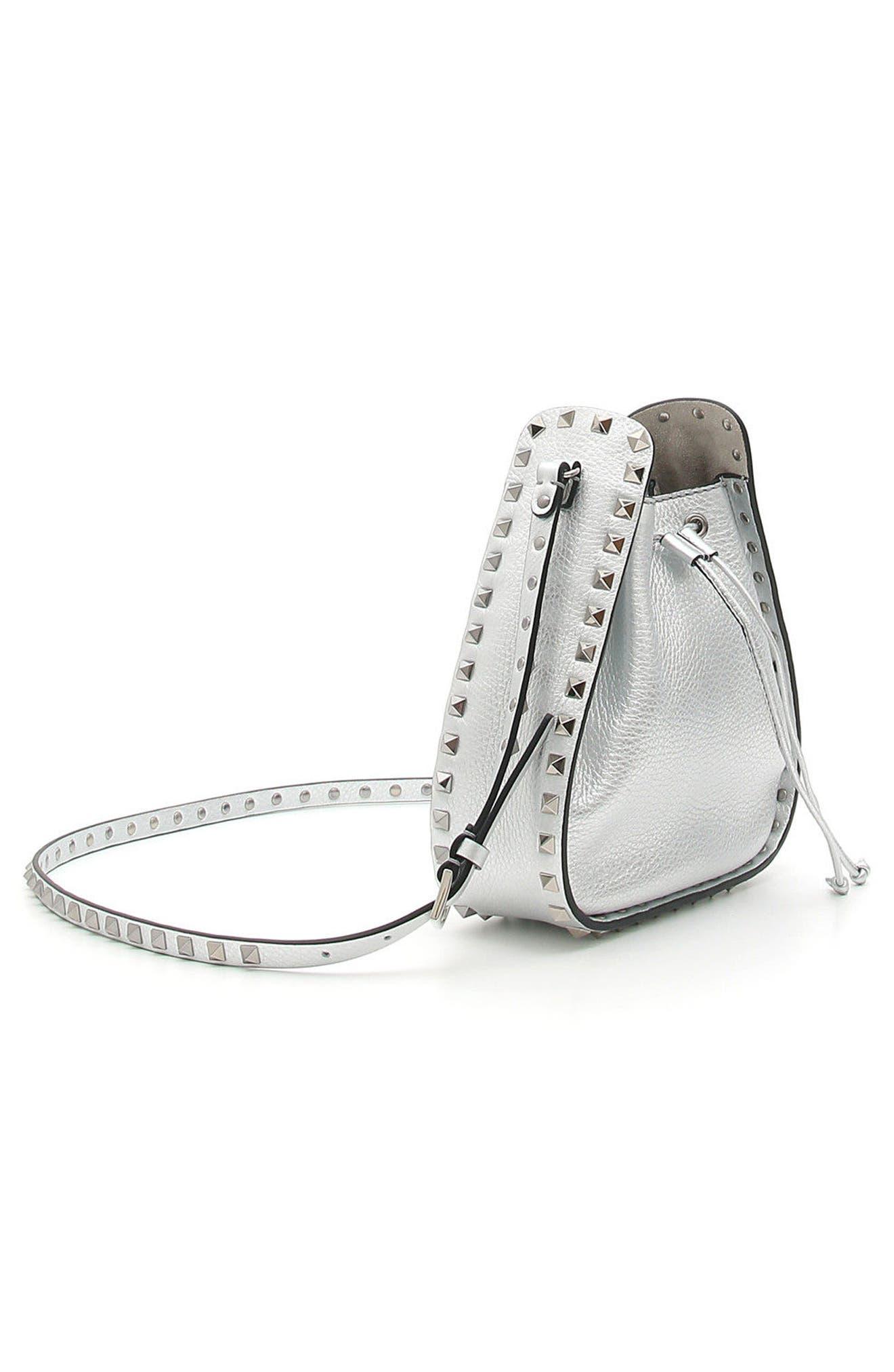 Rockstud Metallic Leather Bucket Bag,                             Alternate thumbnail 3, color,                             040