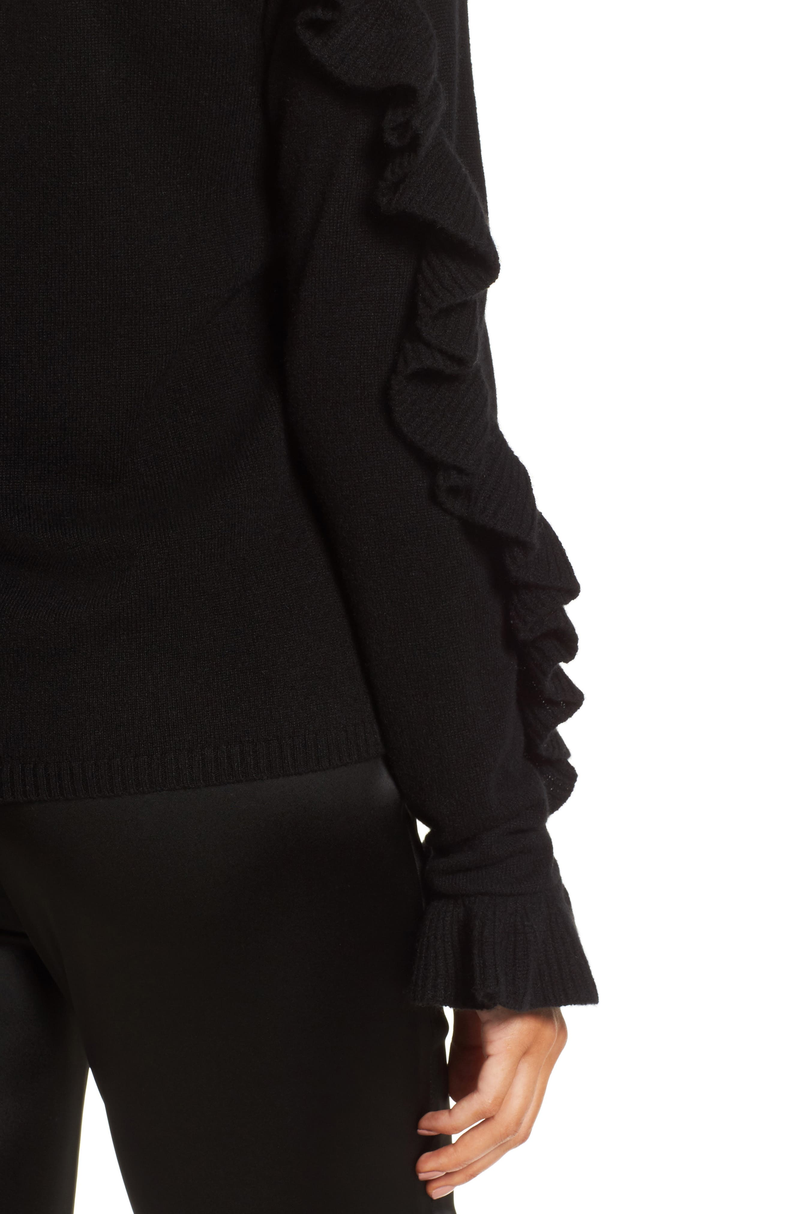 Ruffle Sleeve Cashmere Sweater,                             Alternate thumbnail 7, color,