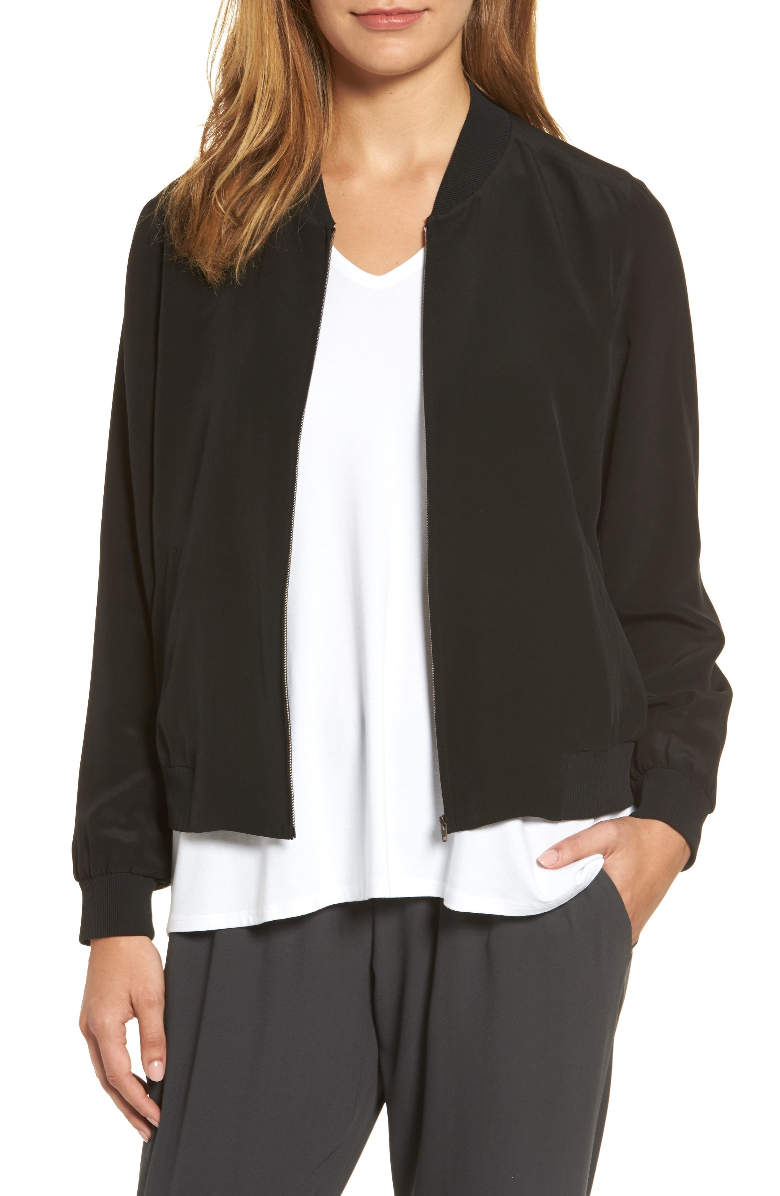 EILEEN FISHER Silk Bomber Jacket, Main, color, 001