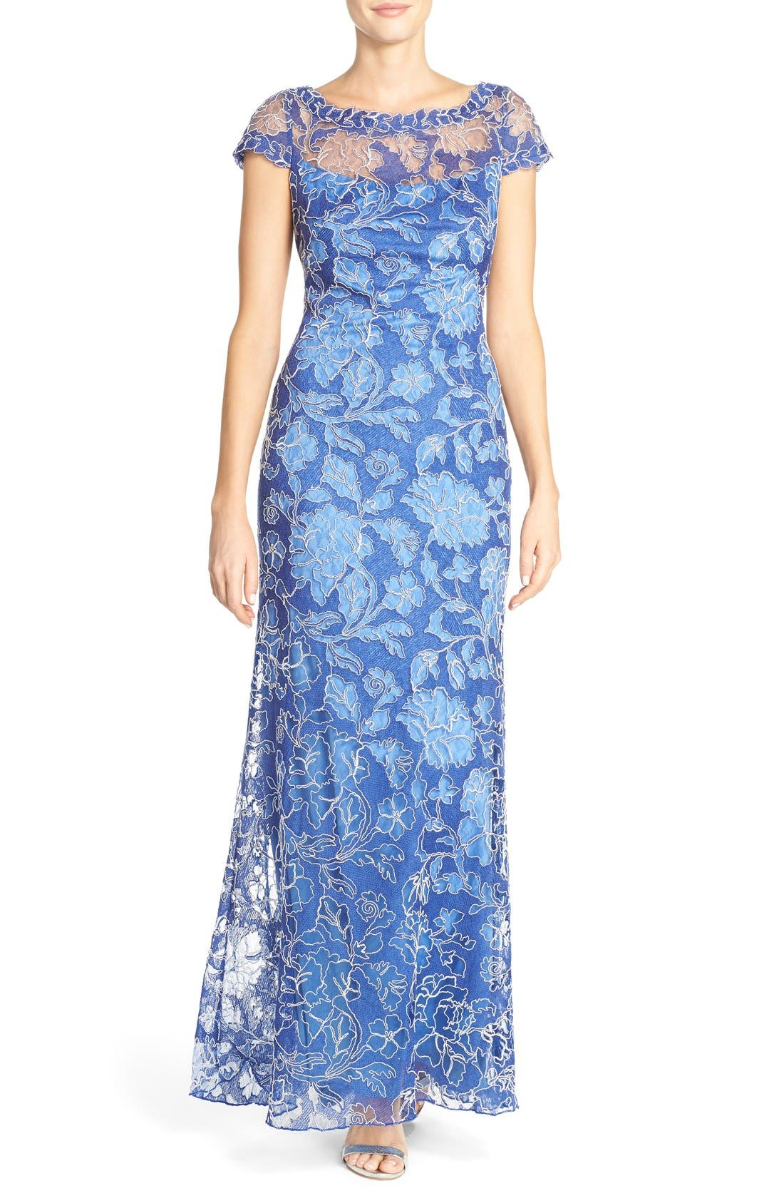 Embroidered Lace Gown,                         Main,                         color, 423