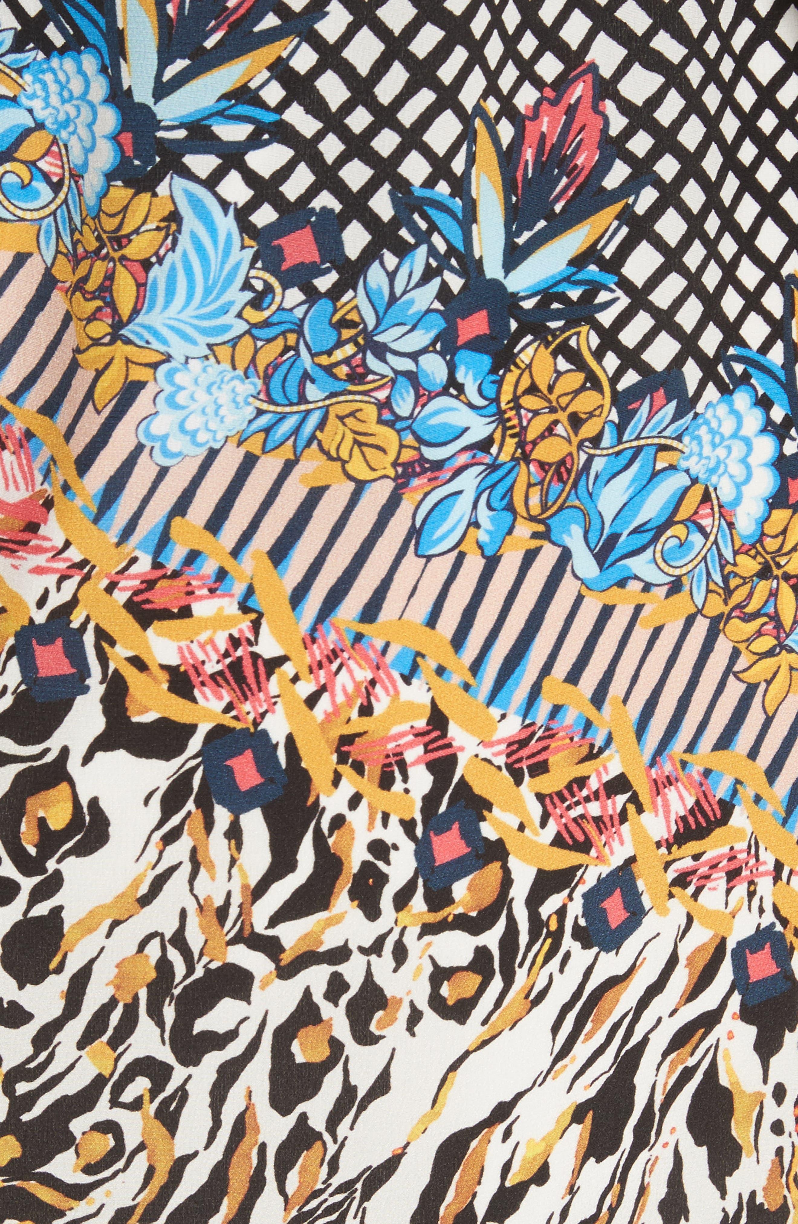 Veronica Print Silk Dress,                             Alternate thumbnail 5, color,                             767