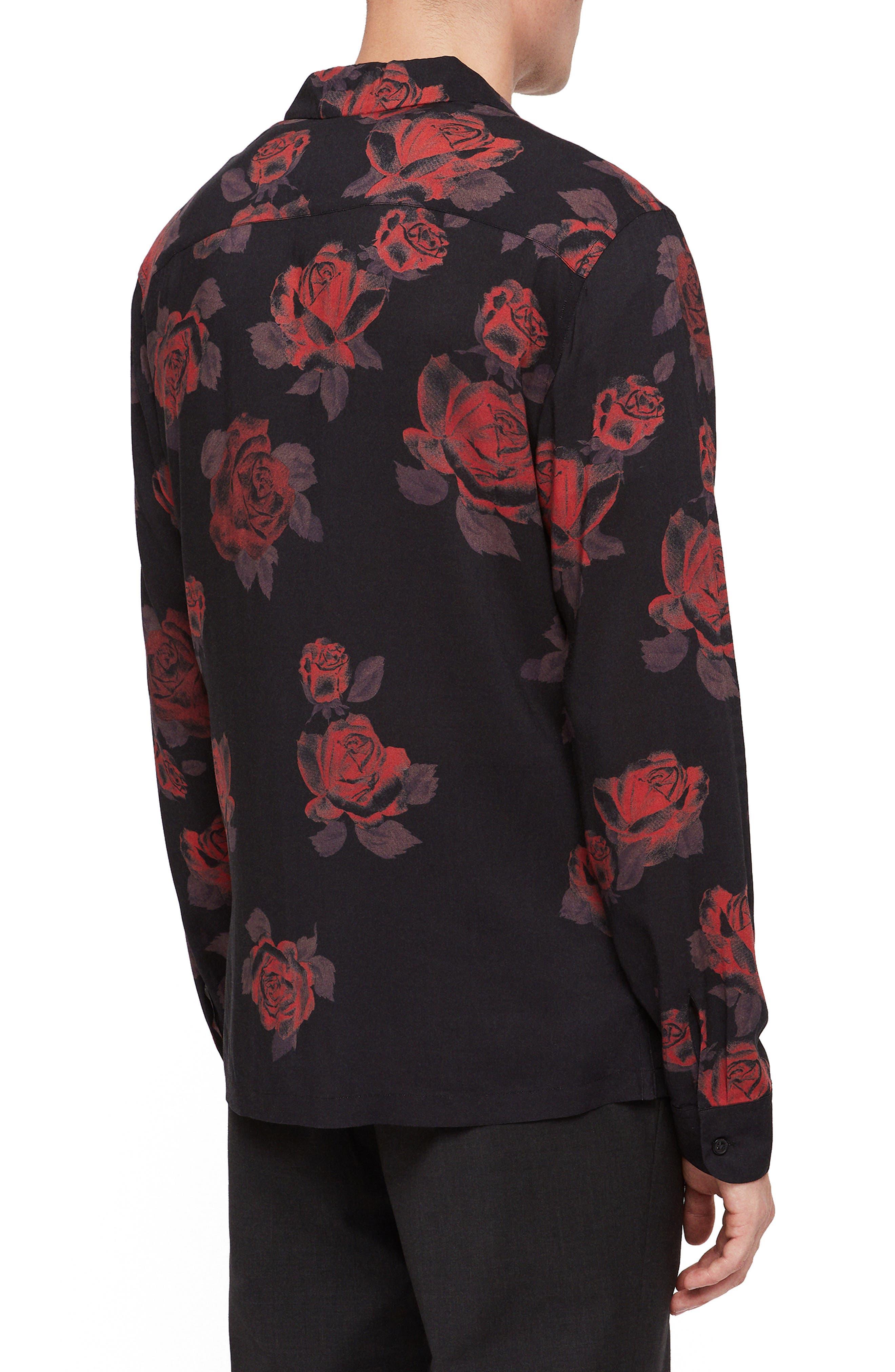 Thorn Revere Collar Sport Shirt,                             Alternate thumbnail 3, color,                             JET BLACK/ RED