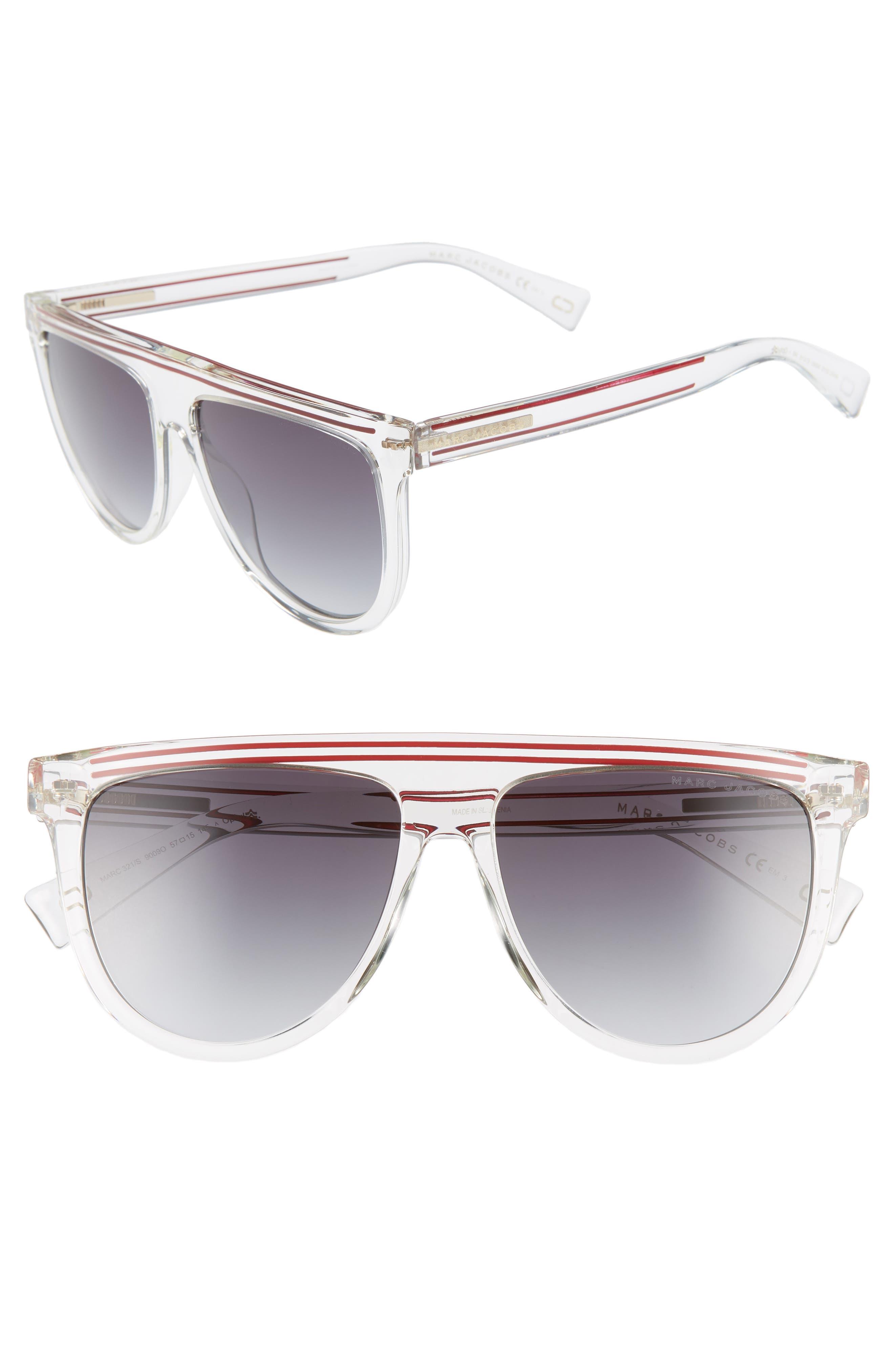 57Mm Gradient Flat Top Sunglasses - Crystal