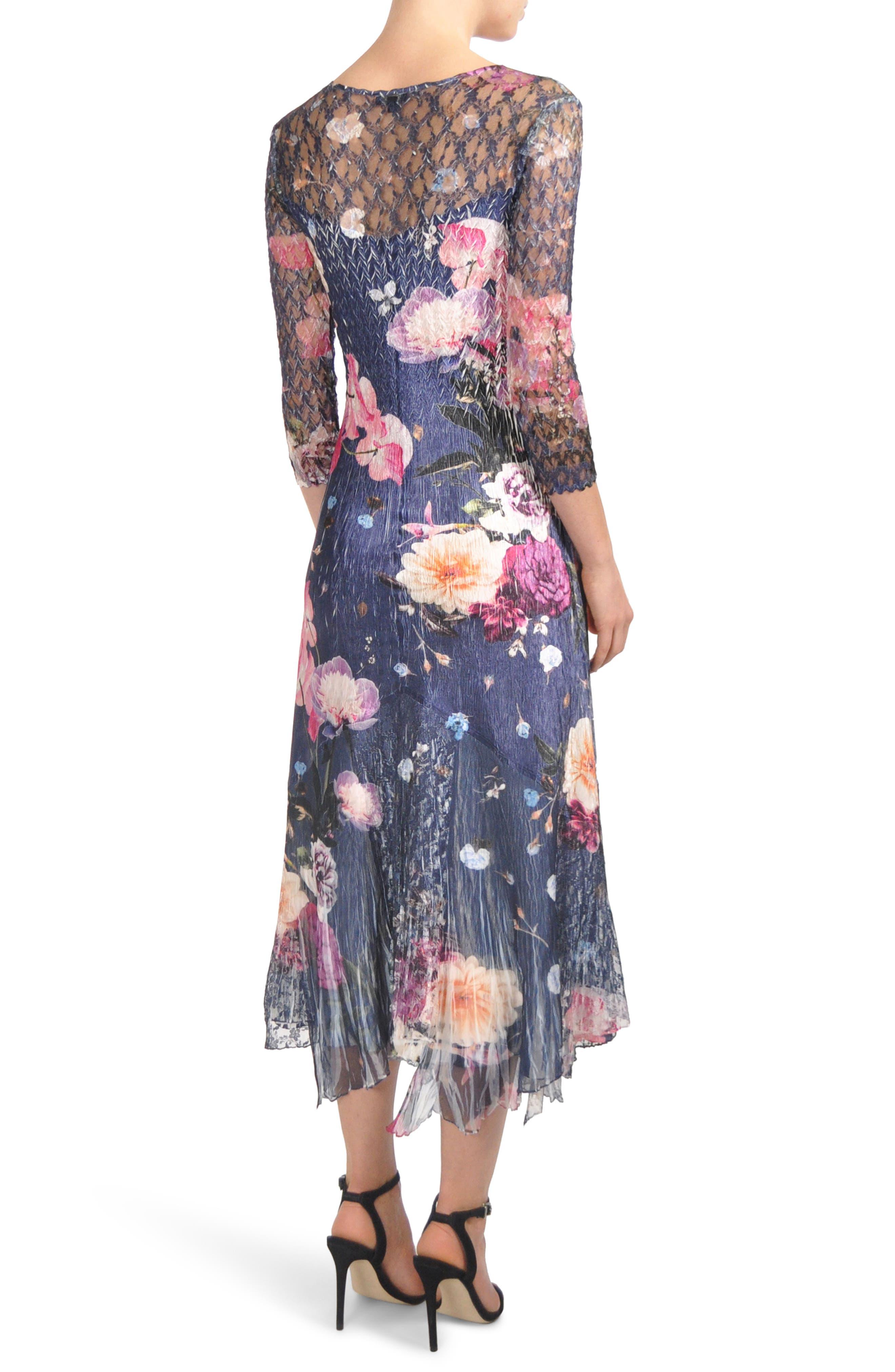 Foral Print Lace Inset Dress,                             Alternate thumbnail 2, color,                             401