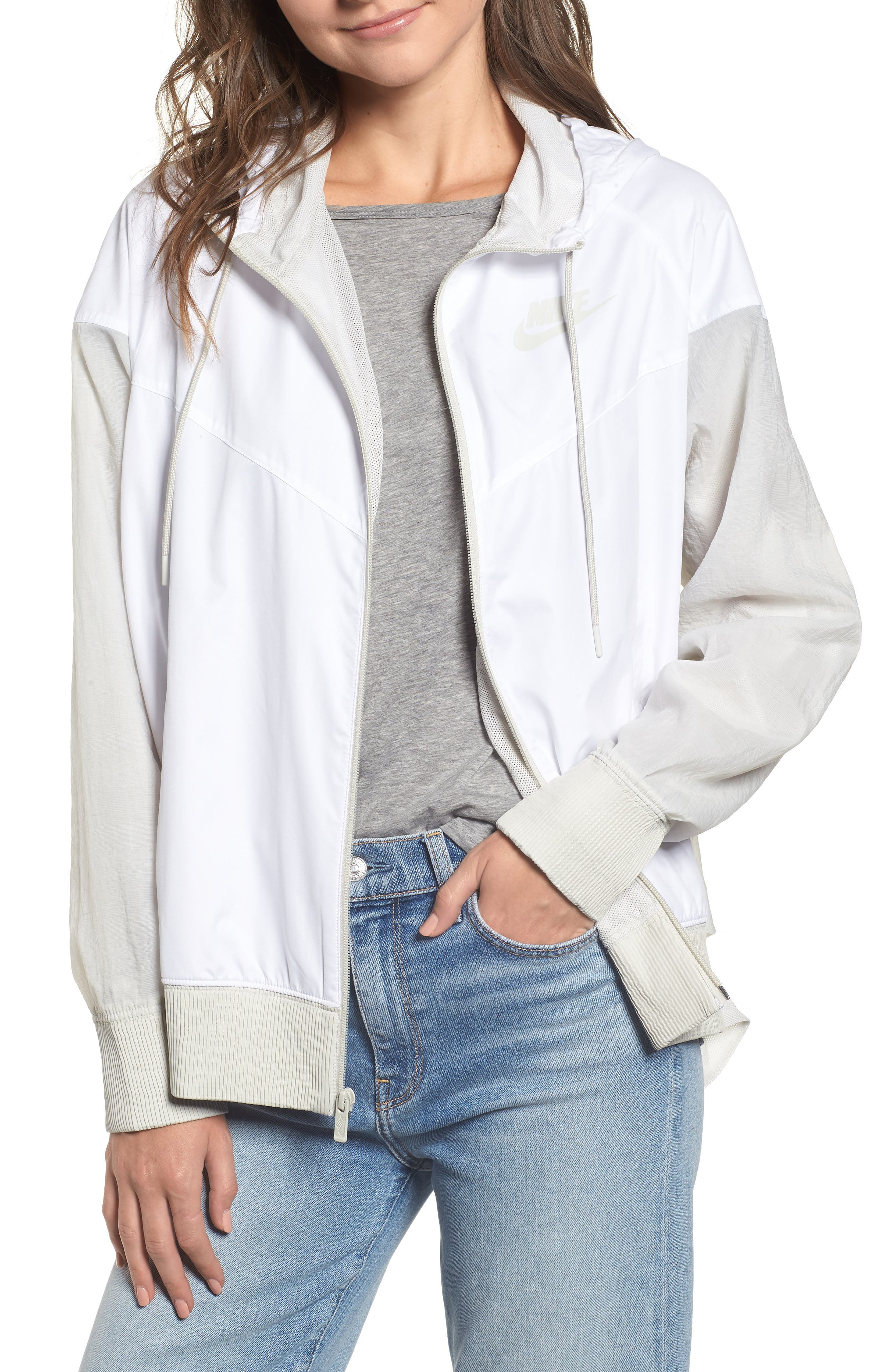 Sportswear Women's Windrunner Water Repellent Jacket,                             Alternate thumbnail 3, color,                             WHITE/ LIGHT BONE/ LIGHT BONE