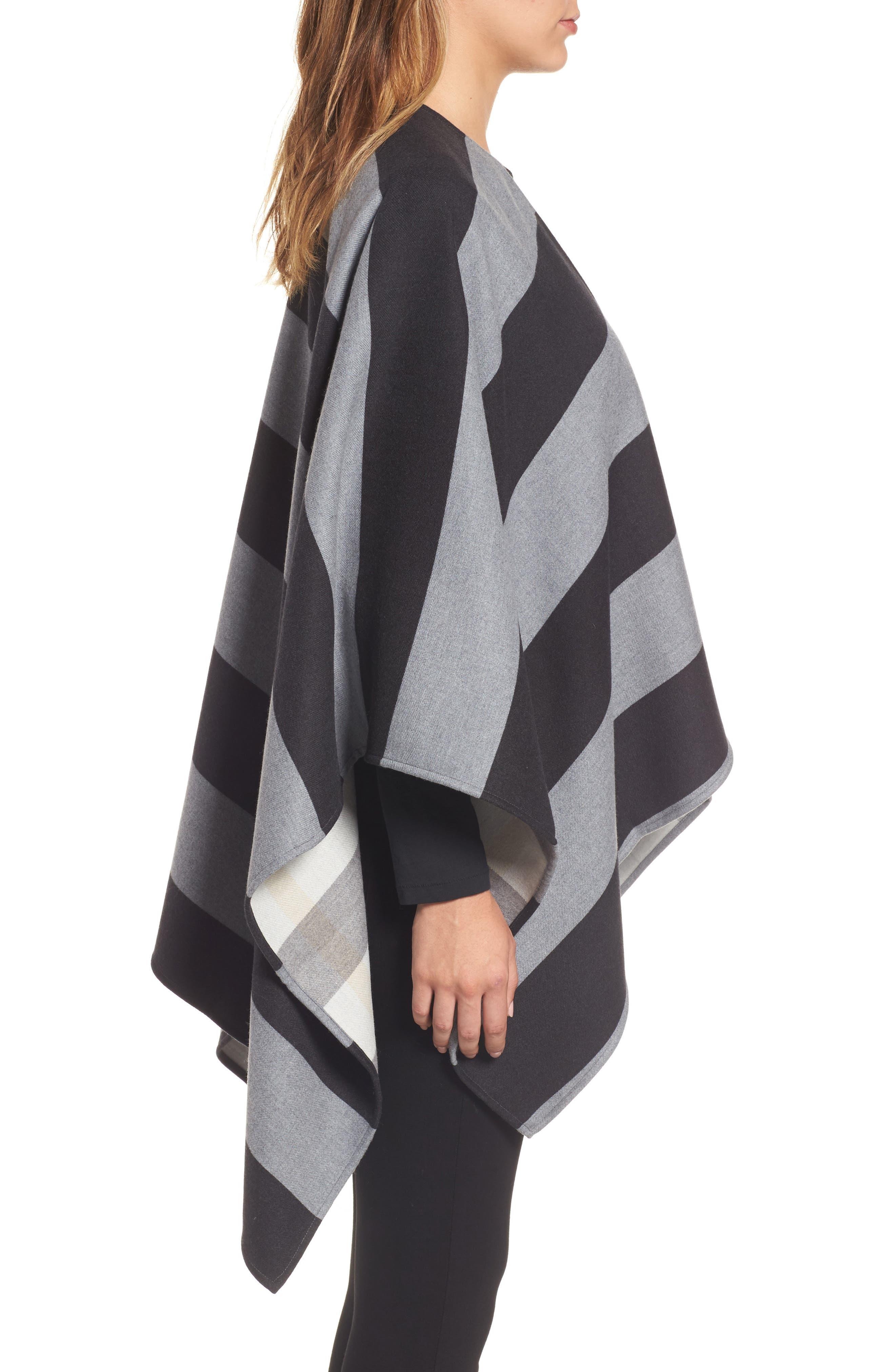 Stripe Merino Wool Poncho,                             Alternate thumbnail 3, color,                             020