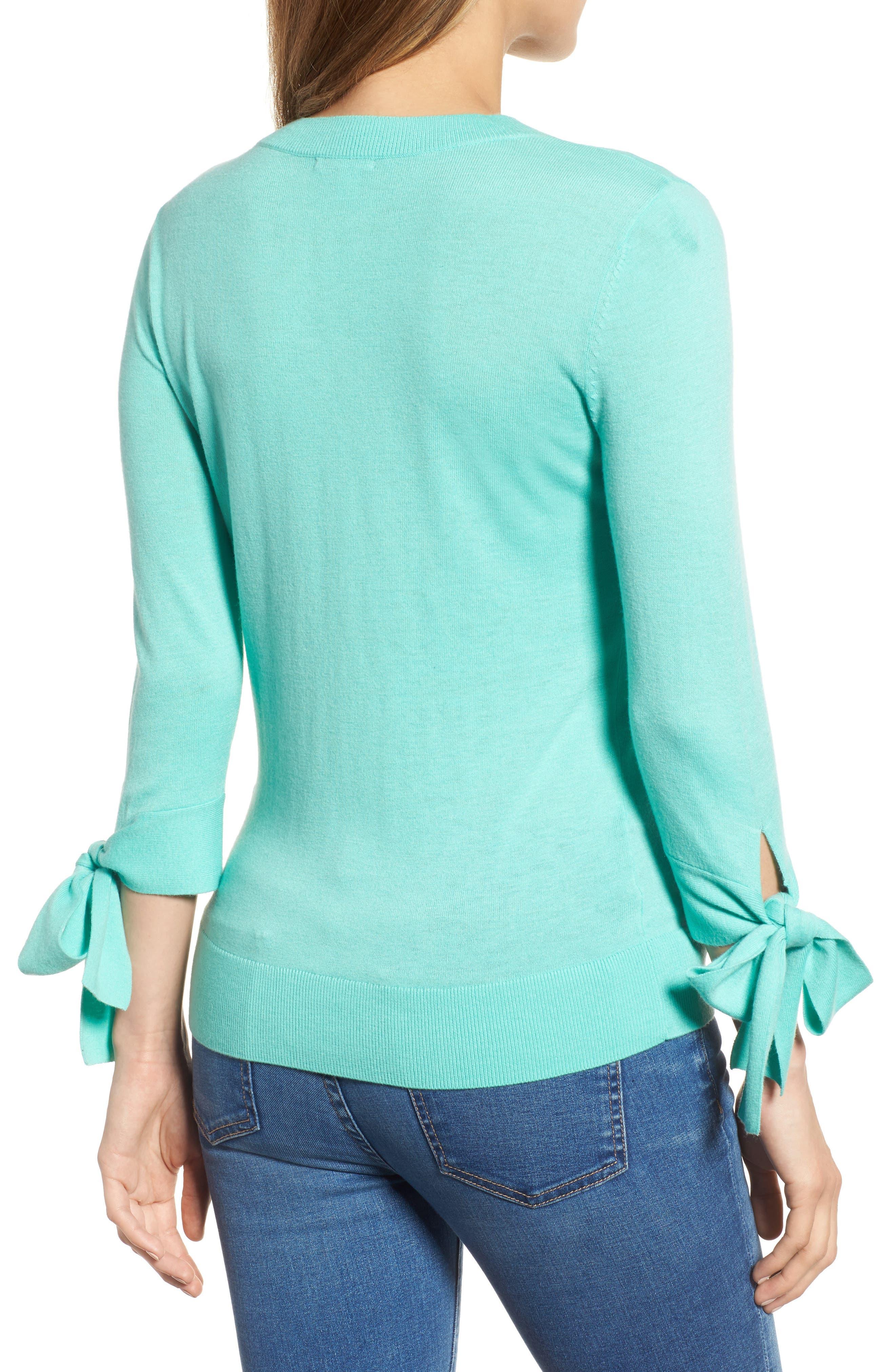 Tie Sleeve Crewneck Sweater,                             Alternate thumbnail 2, color,                             312