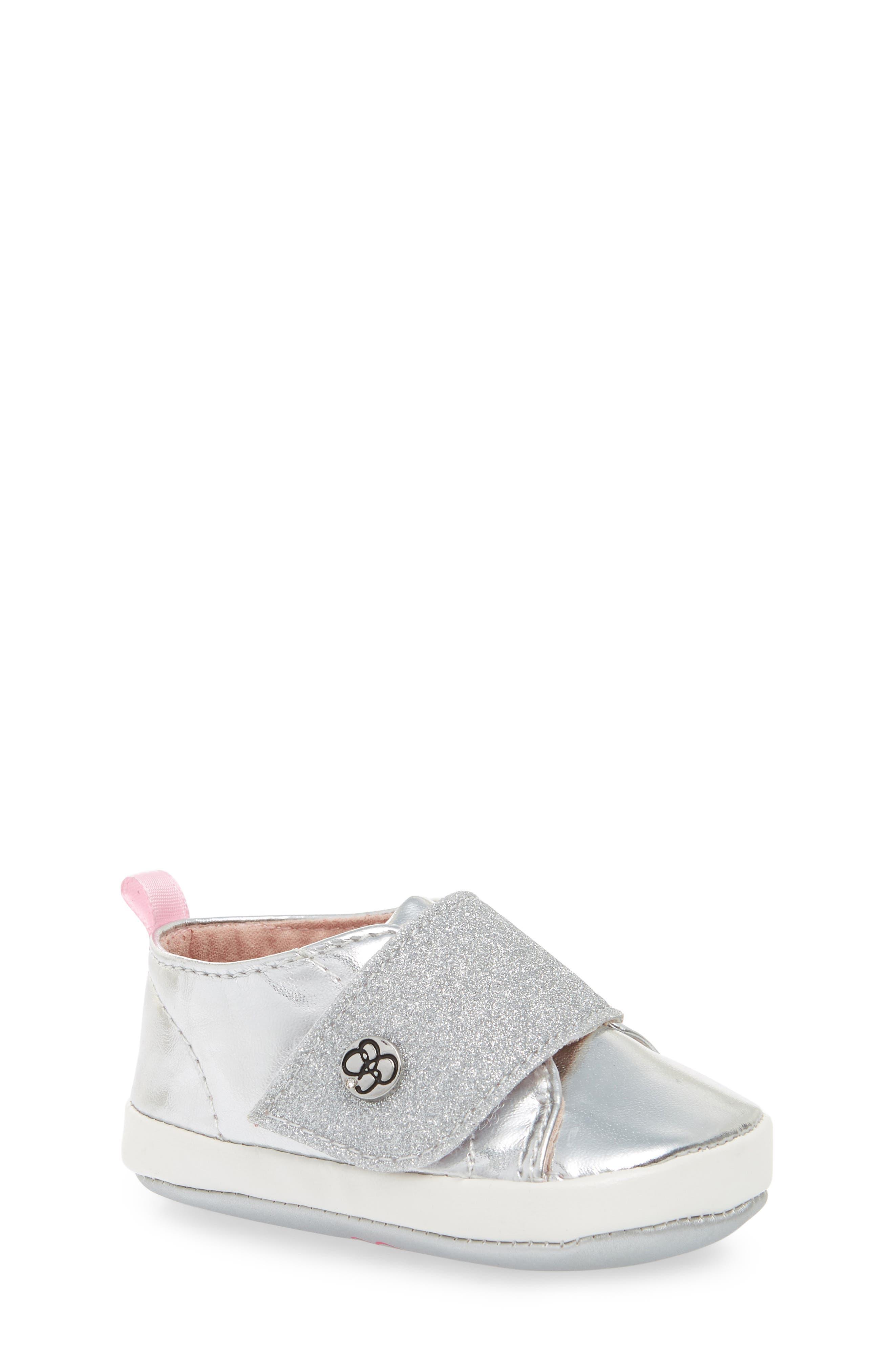 Glitter Crib Sneaker,                             Main thumbnail 1, color,                             SILVER MIRROR METALLIC