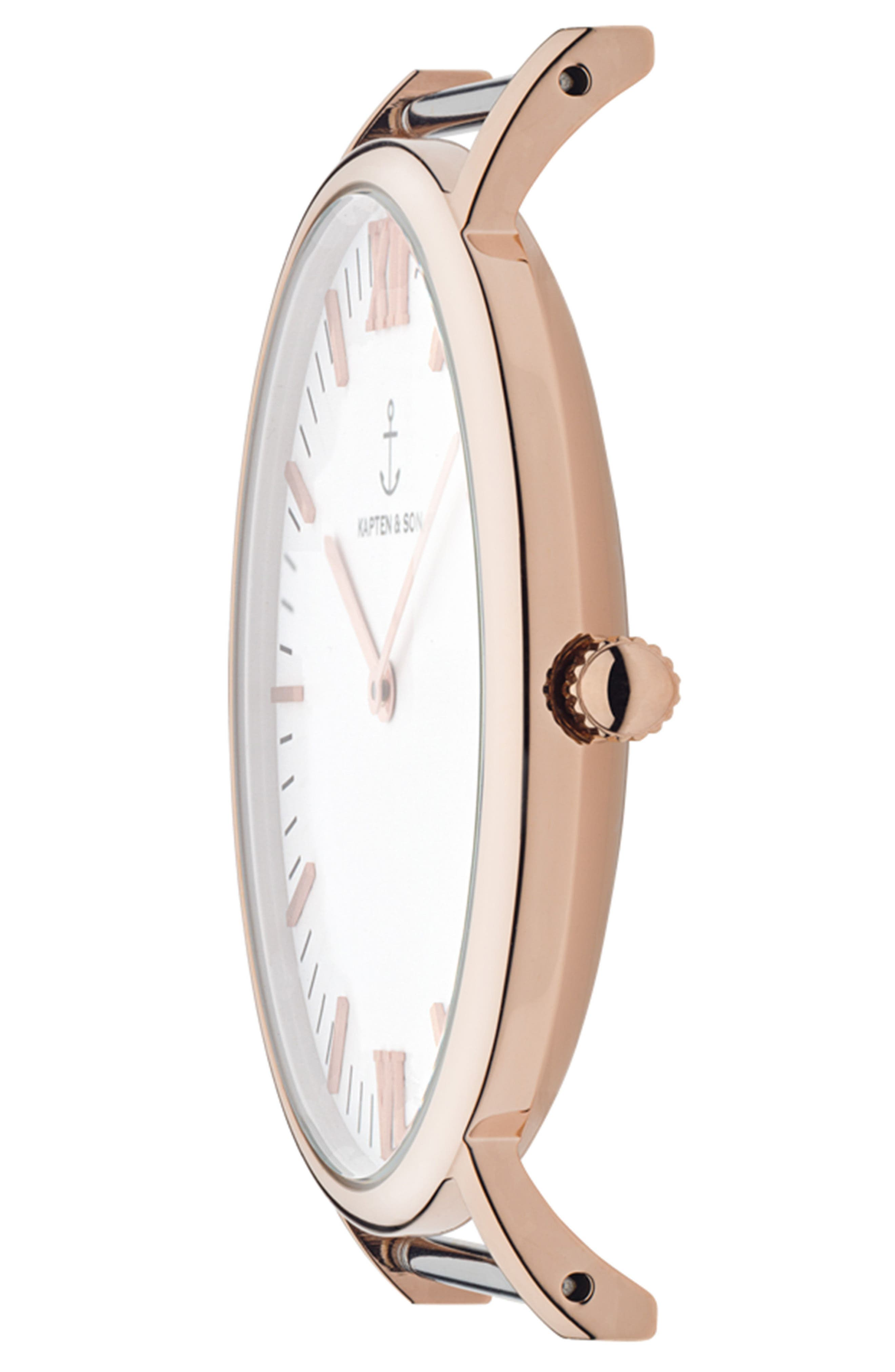 Campina Leather Strap Watch, 36mm,                             Alternate thumbnail 3, color,                             BROWN/WHITE/ROSE GOLD