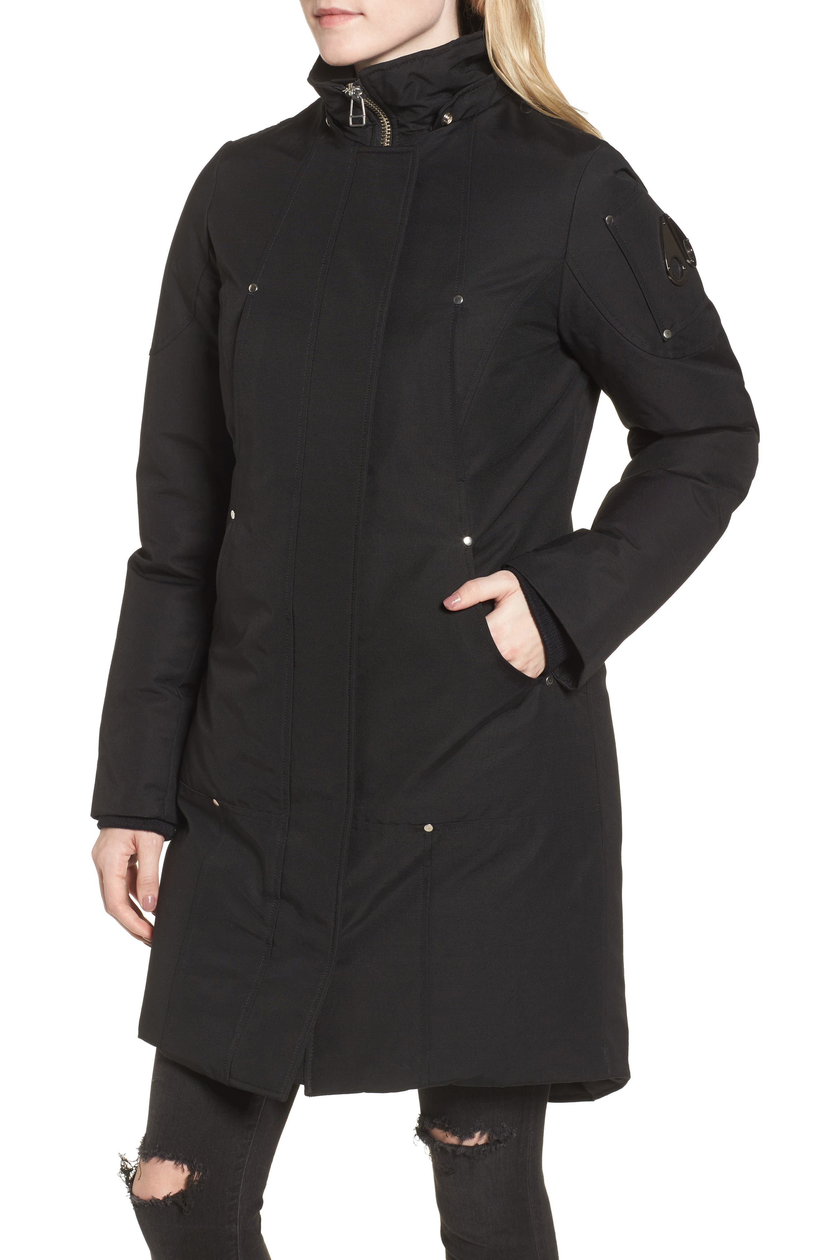 'Stirling' Down Parka with Genuine Fox Fur Trim,                             Alternate thumbnail 6, color,                             BLACK/ WHITE FUR