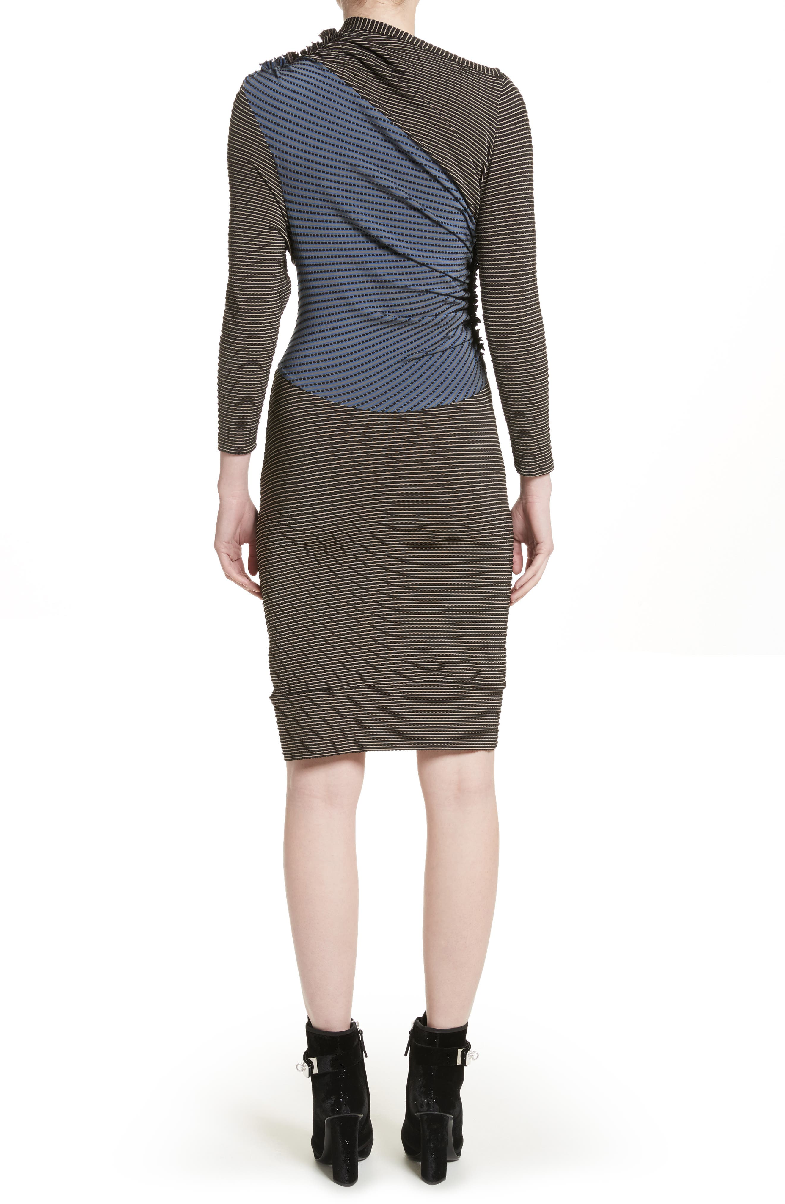 Gathered Jersey Jacquard Dress,                             Alternate thumbnail 2, color,                             400