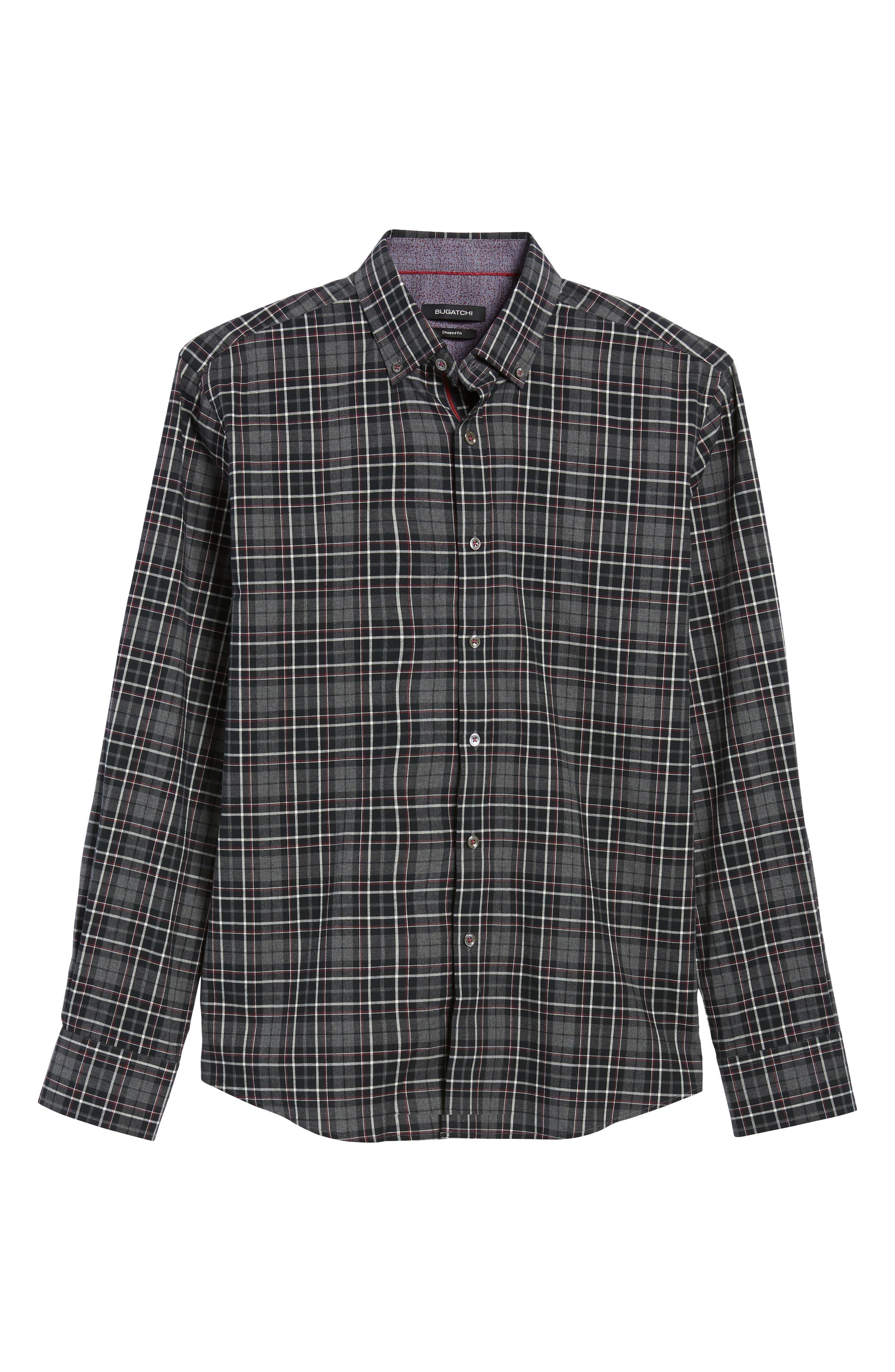Shaped Fit Plaid Sport Shirt,                             Alternate thumbnail 6, color,                             037