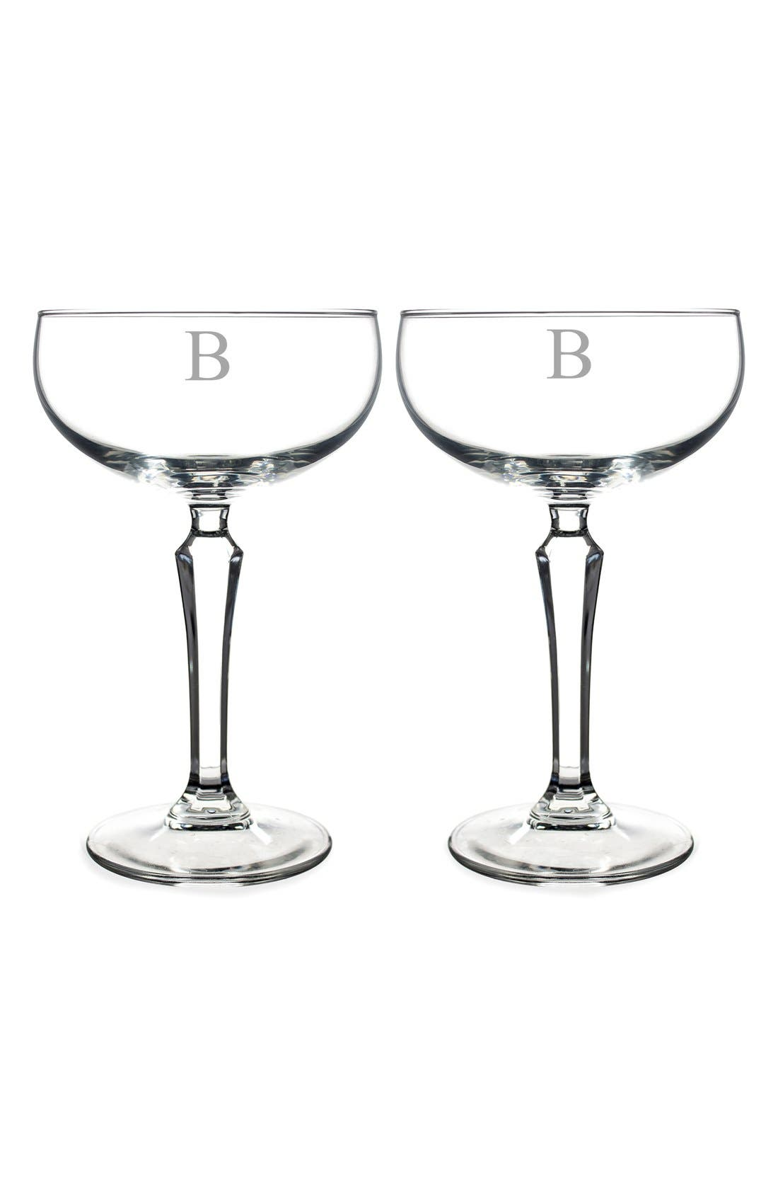 Monogram Coupe Cocktail/Champagne Glasses,                             Main thumbnail 4, color,
