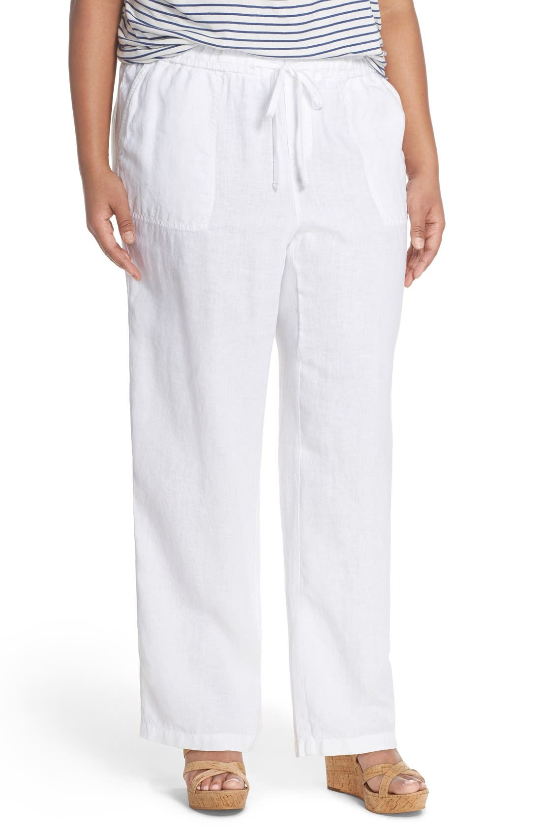Drawstring Linen Pants,                             Main thumbnail 1, color,                             100