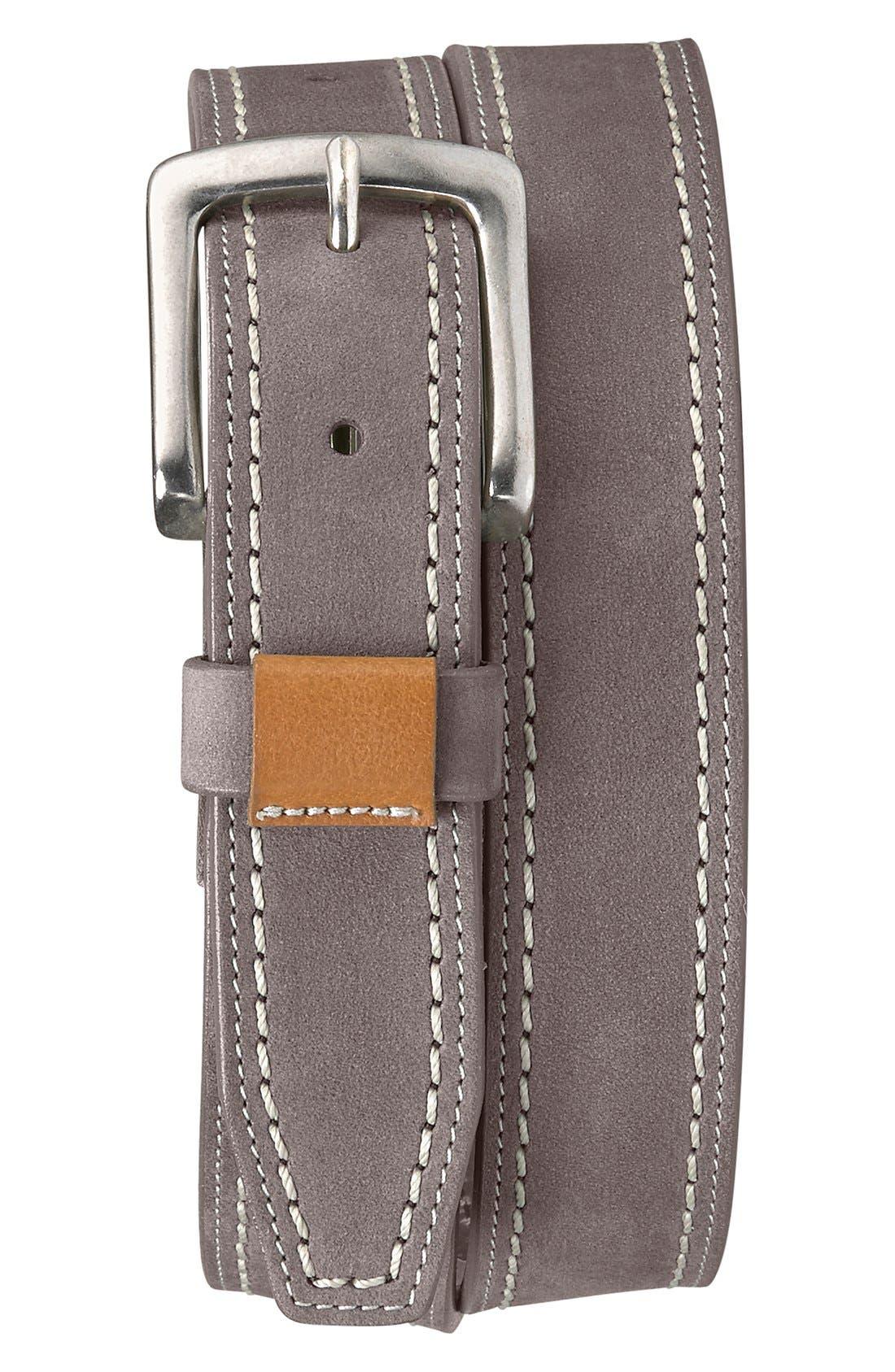 'Alpine' Nubuck Leather Belt,                             Main thumbnail 1, color,                             GRAY