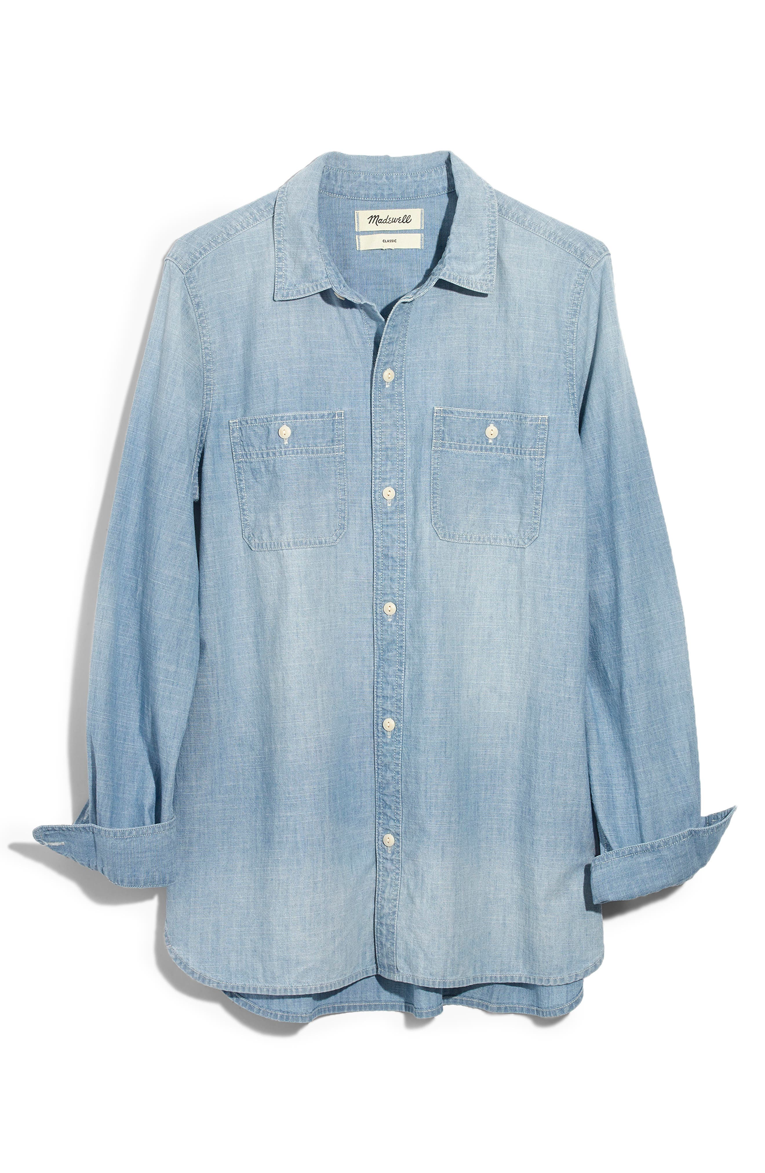 MADEWELL,                             Ex-Boyfriend Classic Chambray Shirt,                             Alternate thumbnail 4, color,                             EVIE WASH