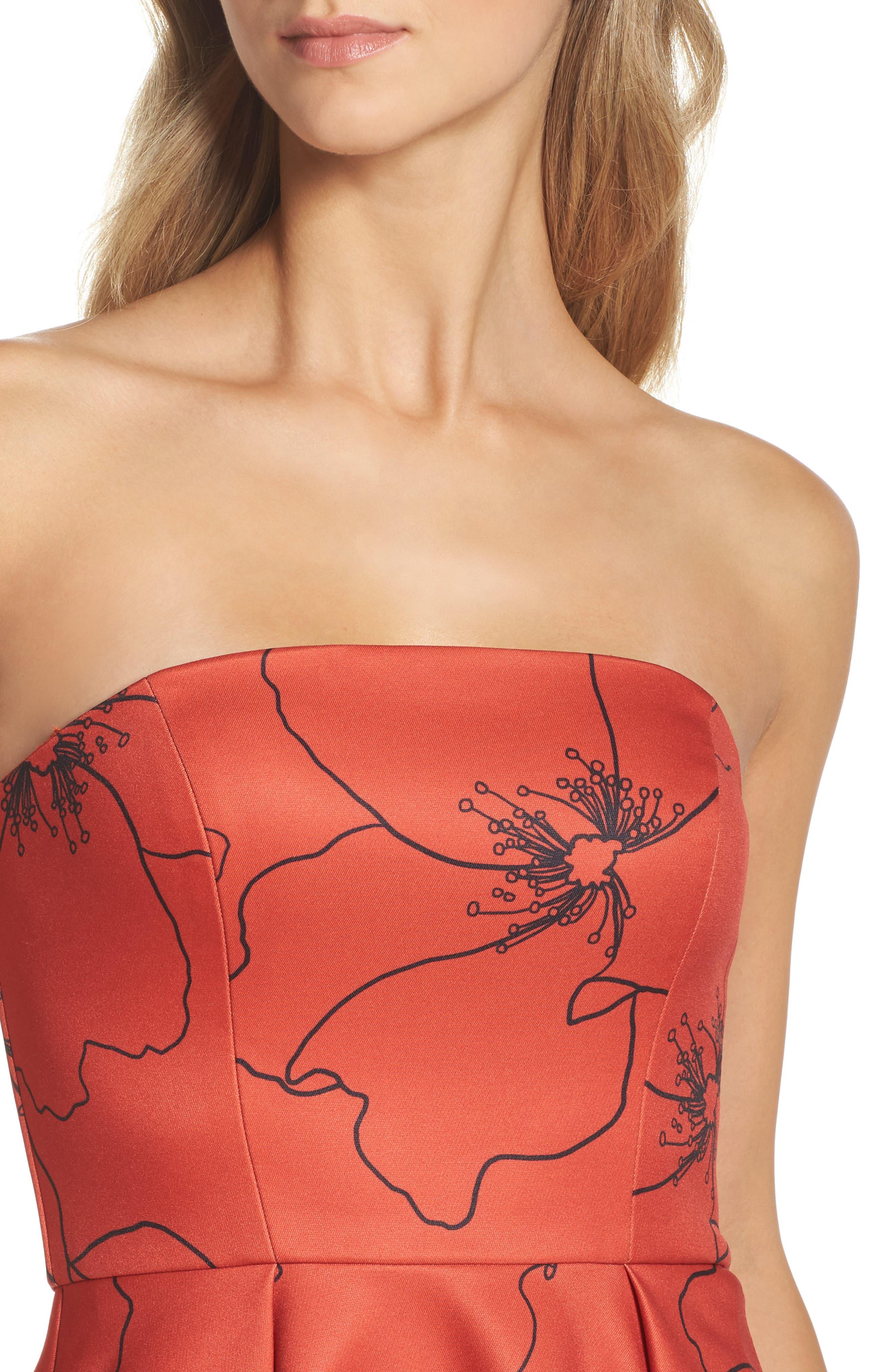 Burnt Fields Strapless Dress,                             Alternate thumbnail 4, color,                             606