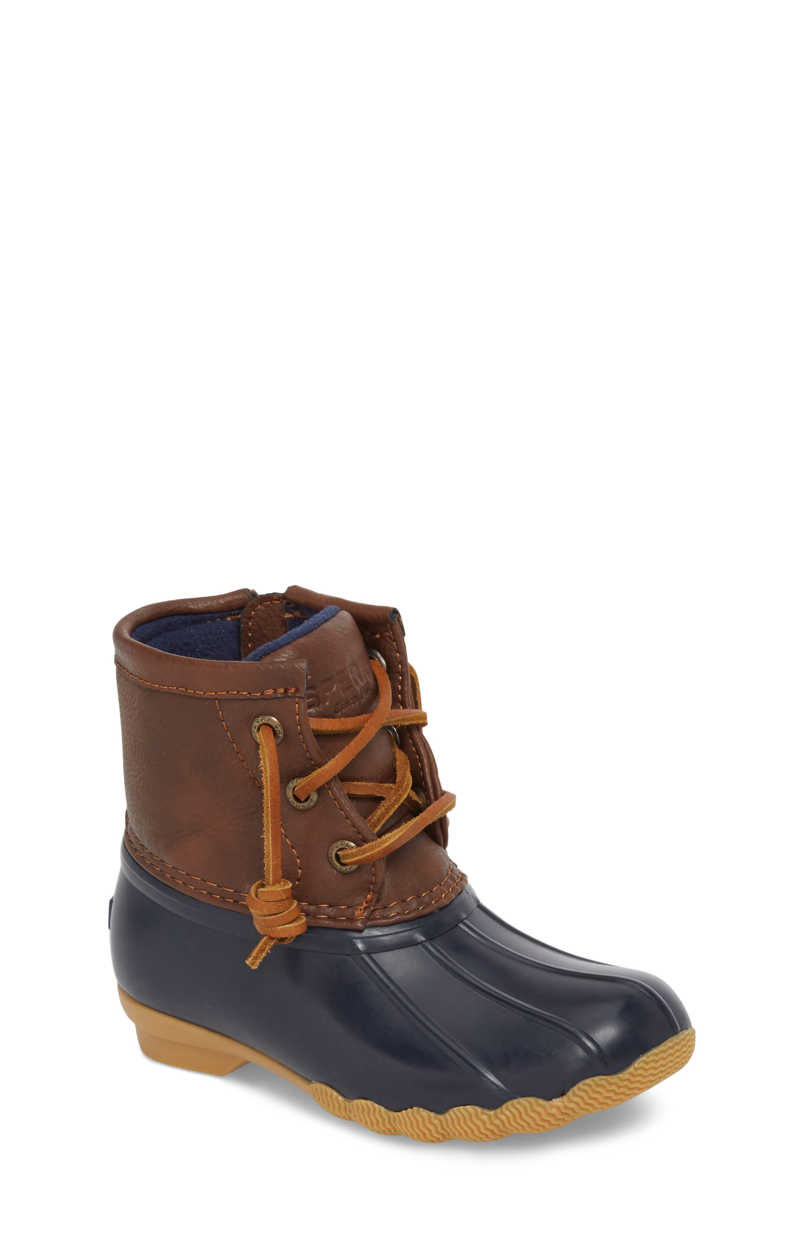 SPERRY KIDS,                             Saltwater Duck Boot,                             Main thumbnail 1, color,                             NAVY/ NAVY