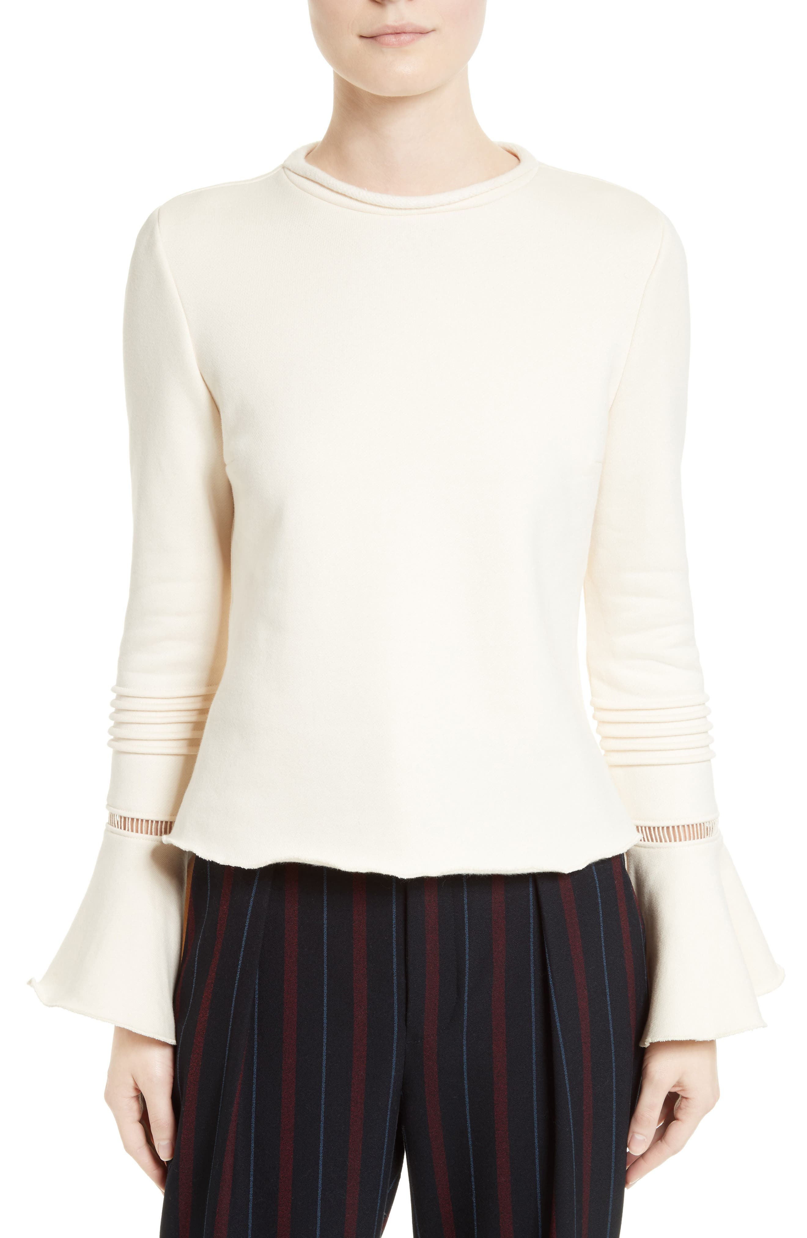 Bell Sleeve Cotton Top,                             Main thumbnail 1, color,                             900