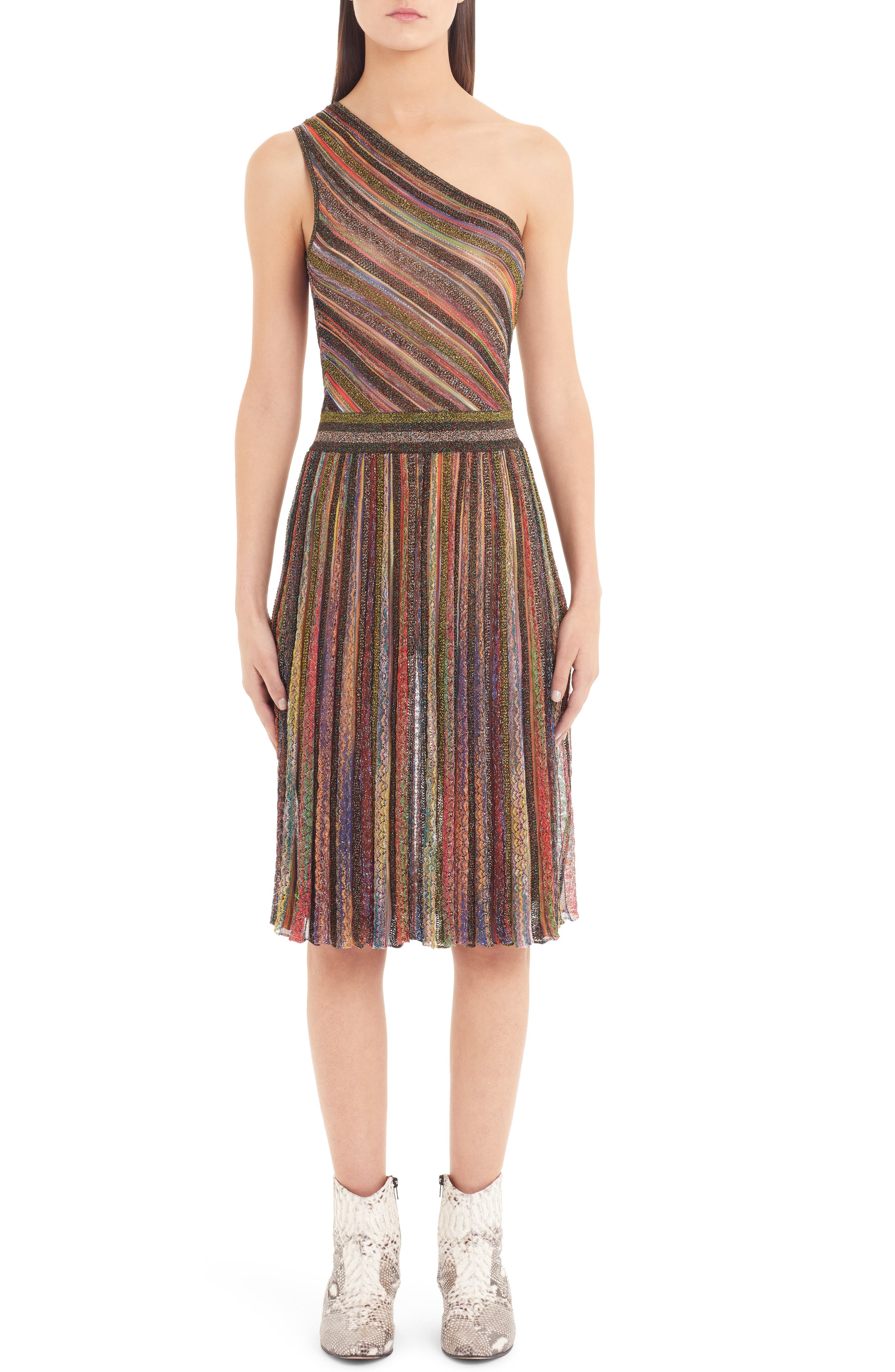 One-Shoulder 3-D Metallic Striped Short Dress in Grey