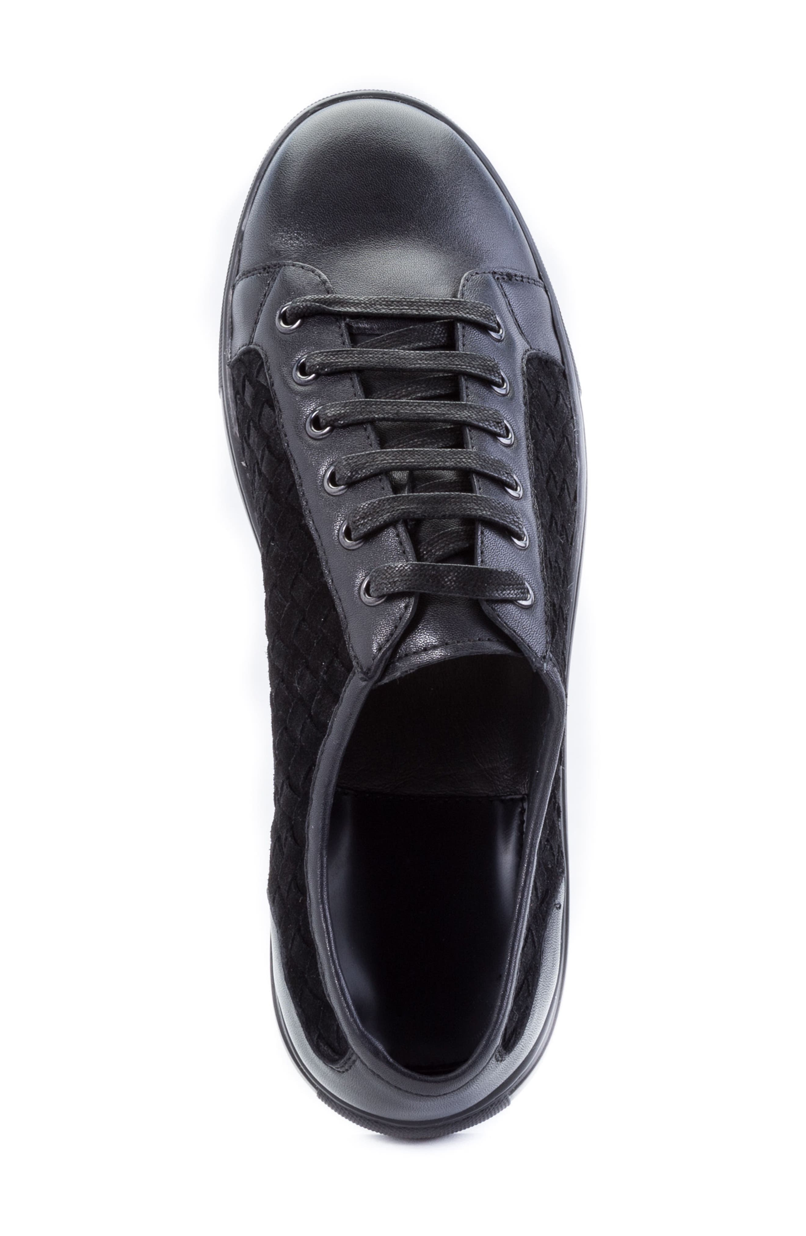 Player Woven Low Top Sneaker,                             Alternate thumbnail 5, color,                             BLACK LEATHER/ SUEDE