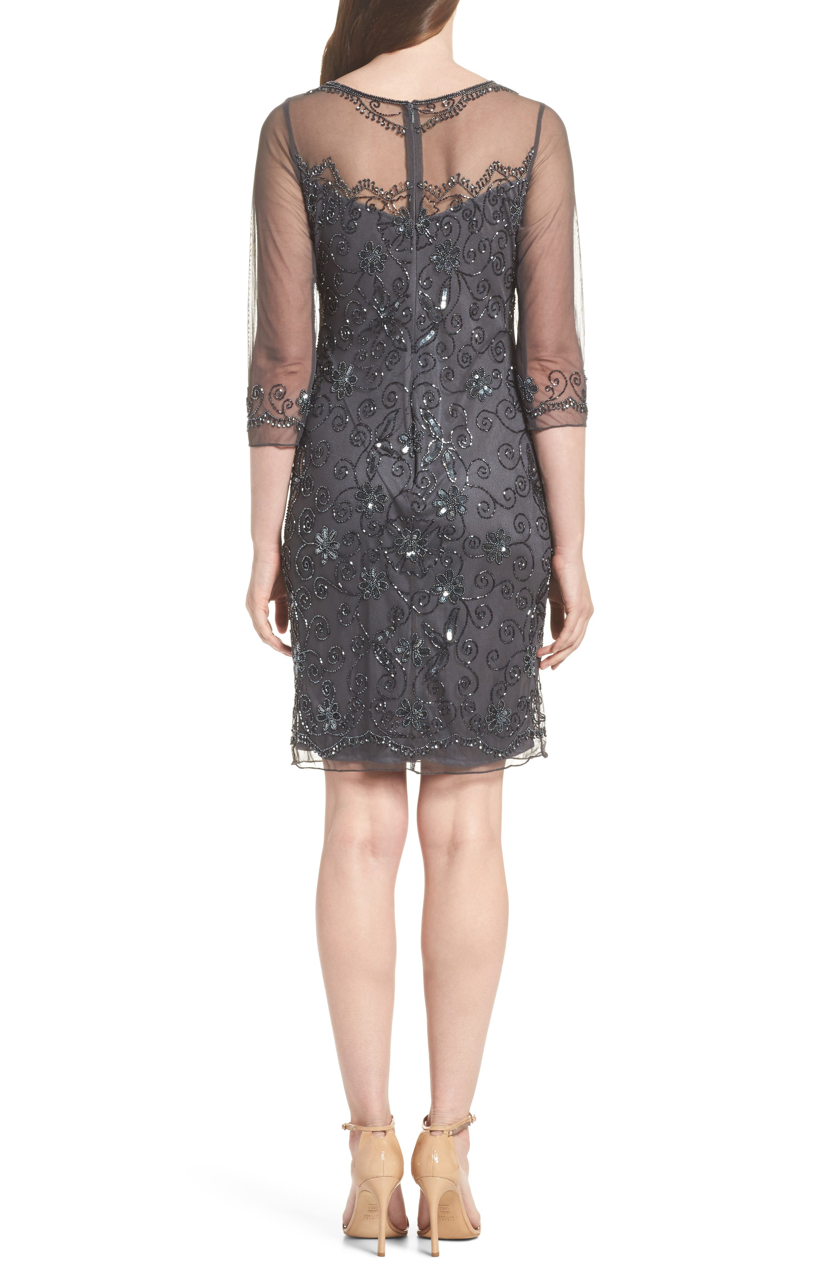 Beaded Mesh Sheath Dress,                             Alternate thumbnail 11, color,