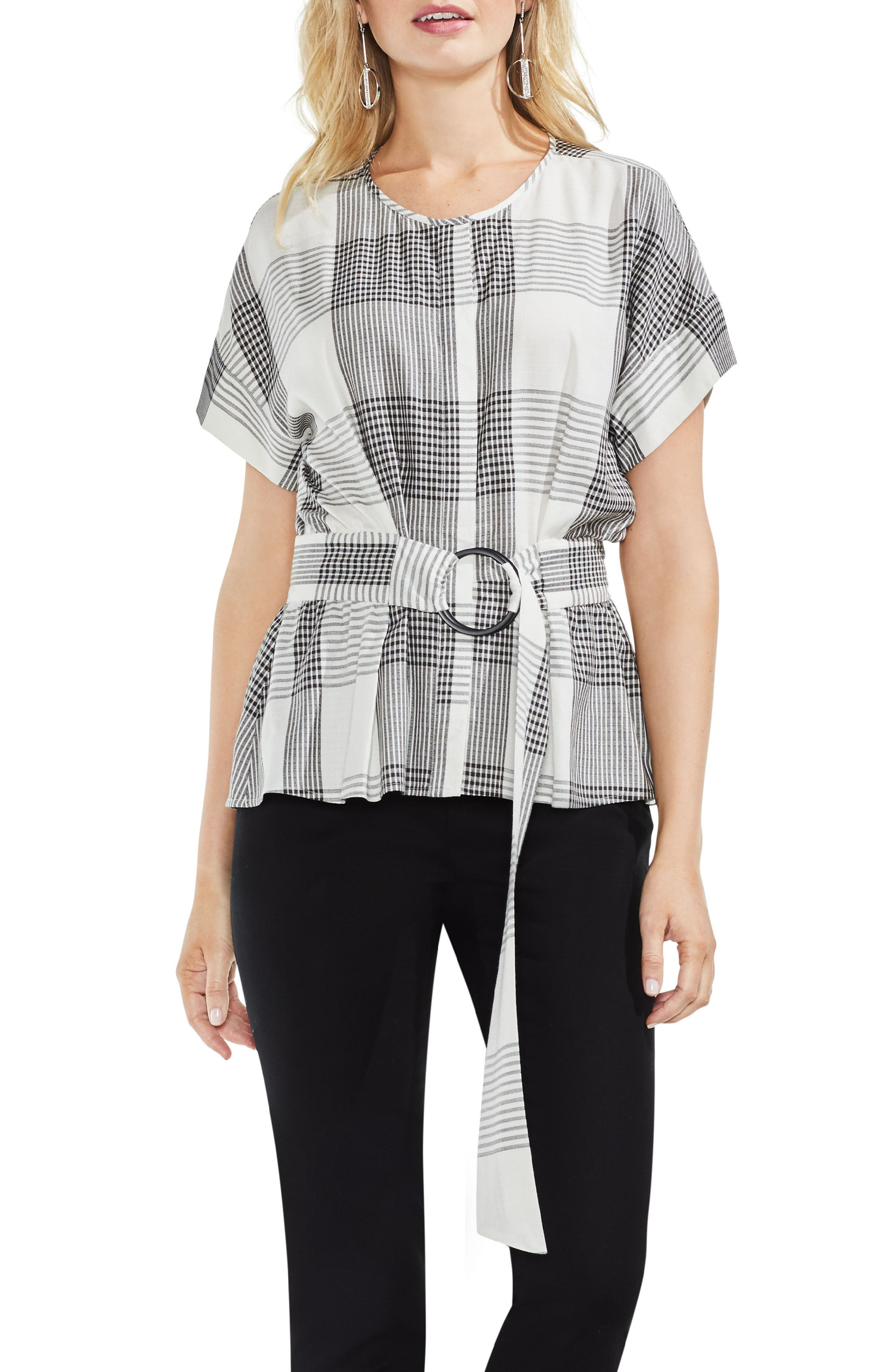 Plaid Belted Top,                         Main,                         color, 006