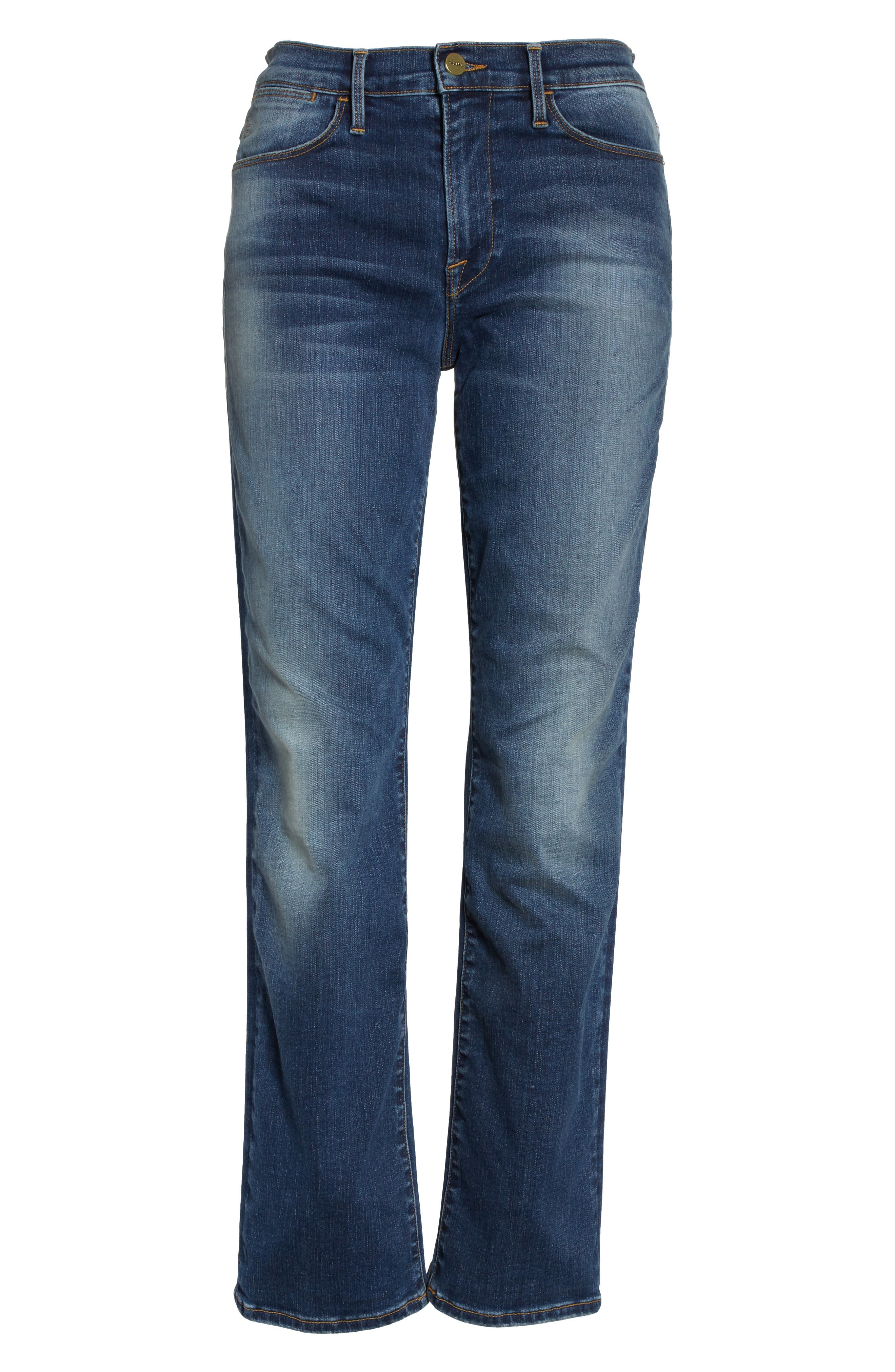 Le High Ankle Straight Leg Jeans,                             Alternate thumbnail 7, color,                             402