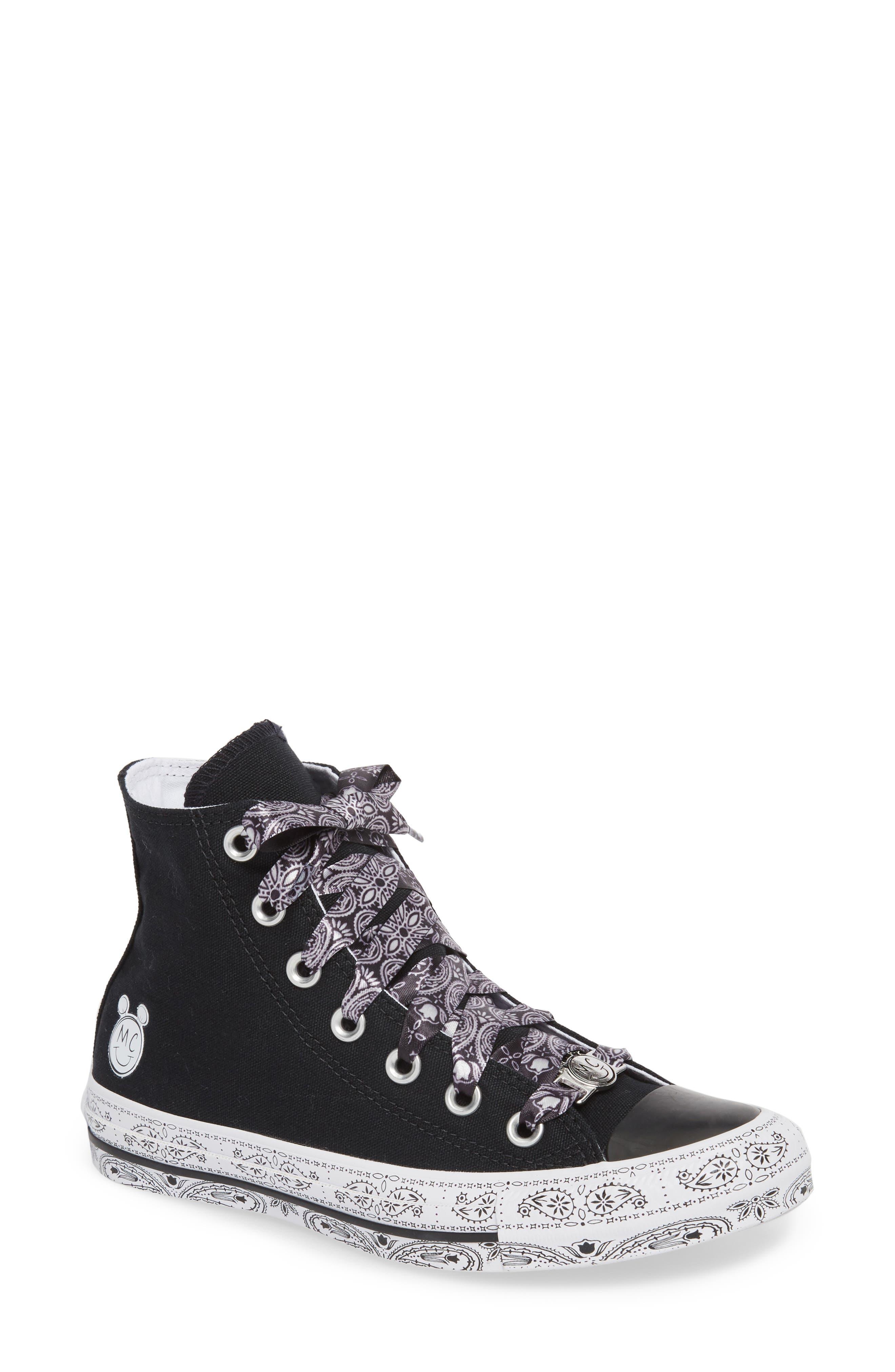 CONVERSE,                             x Miley Cyrus Chuck Taylor All Star Bandana High Top Sneaker,                             Main thumbnail 1, color,                             001